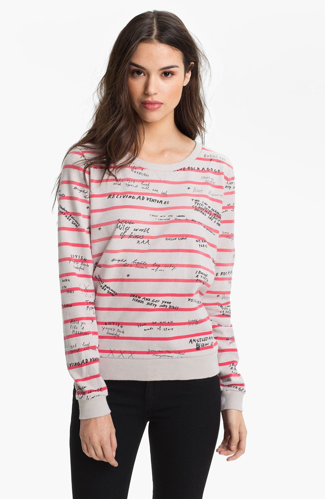 Main Image - Maison Scotch Yearbook Print Stripe Sweatshirt