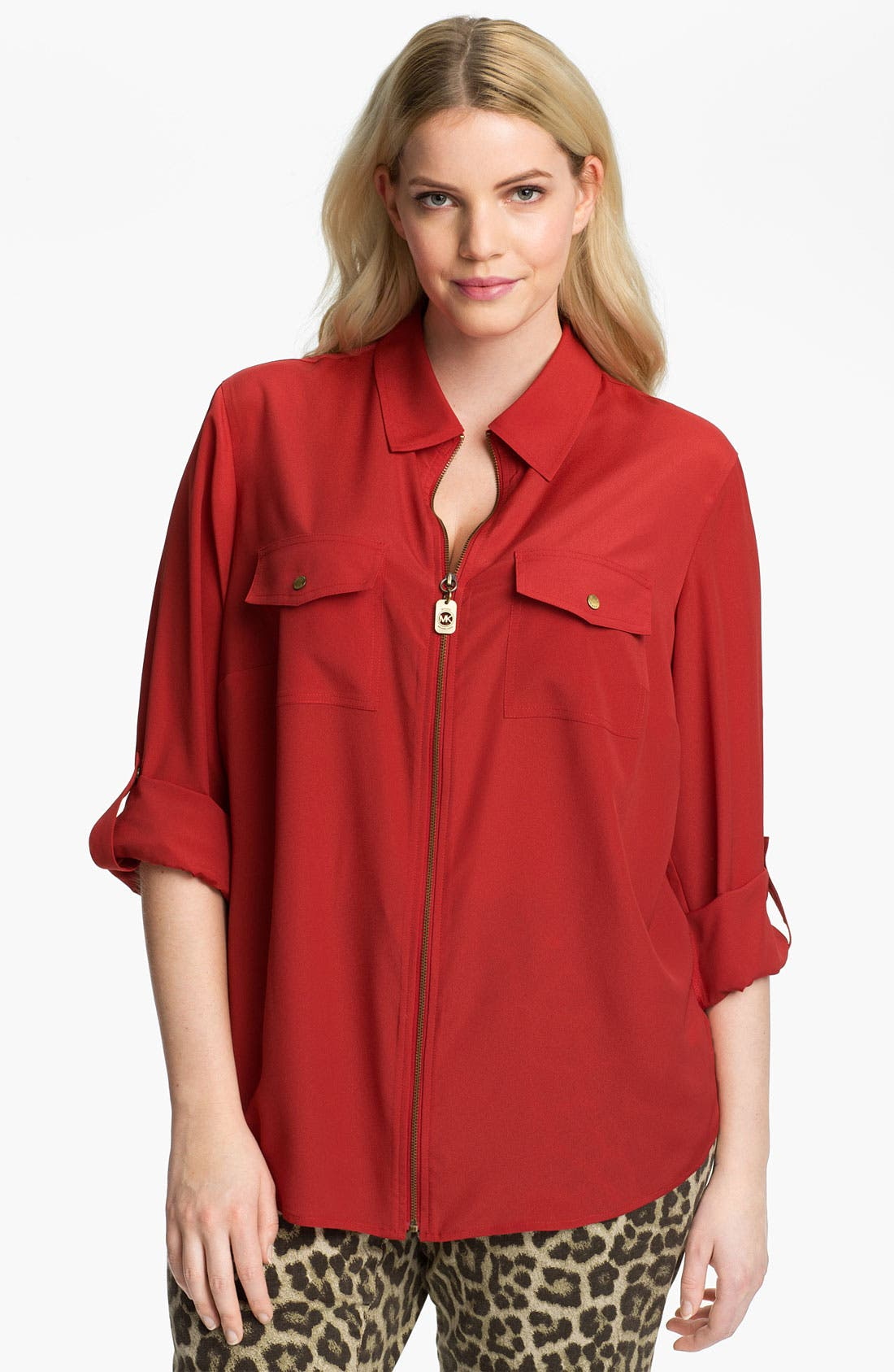 Alternate Image 1 Selected - MICHAEL Michael Kors Zip Campshirt (Plus)