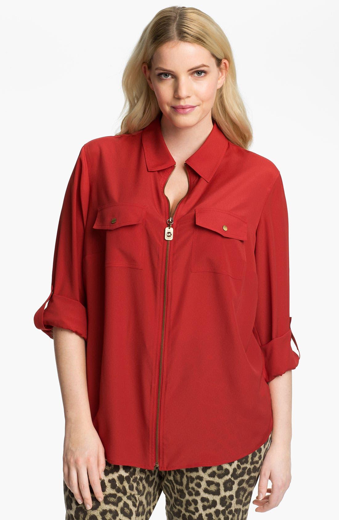 Main Image - MICHAEL Michael Kors Zip Campshirt (Plus)