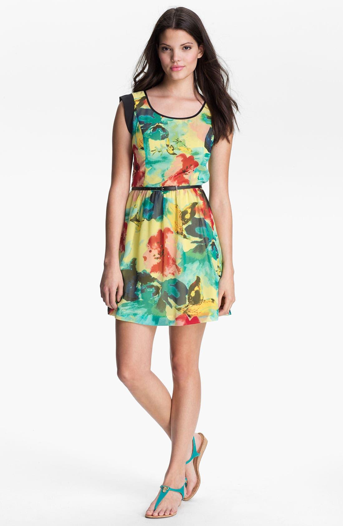 Alternate Image 1 Selected - Kensie 'Blurred Floral' Dress