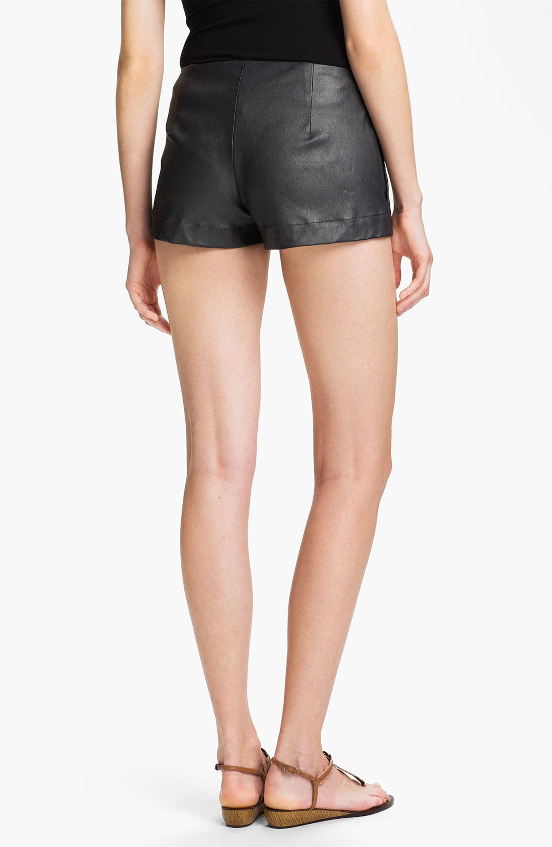 Alternate Image 2  - L'AGENCE Lambskin Leather Shorts