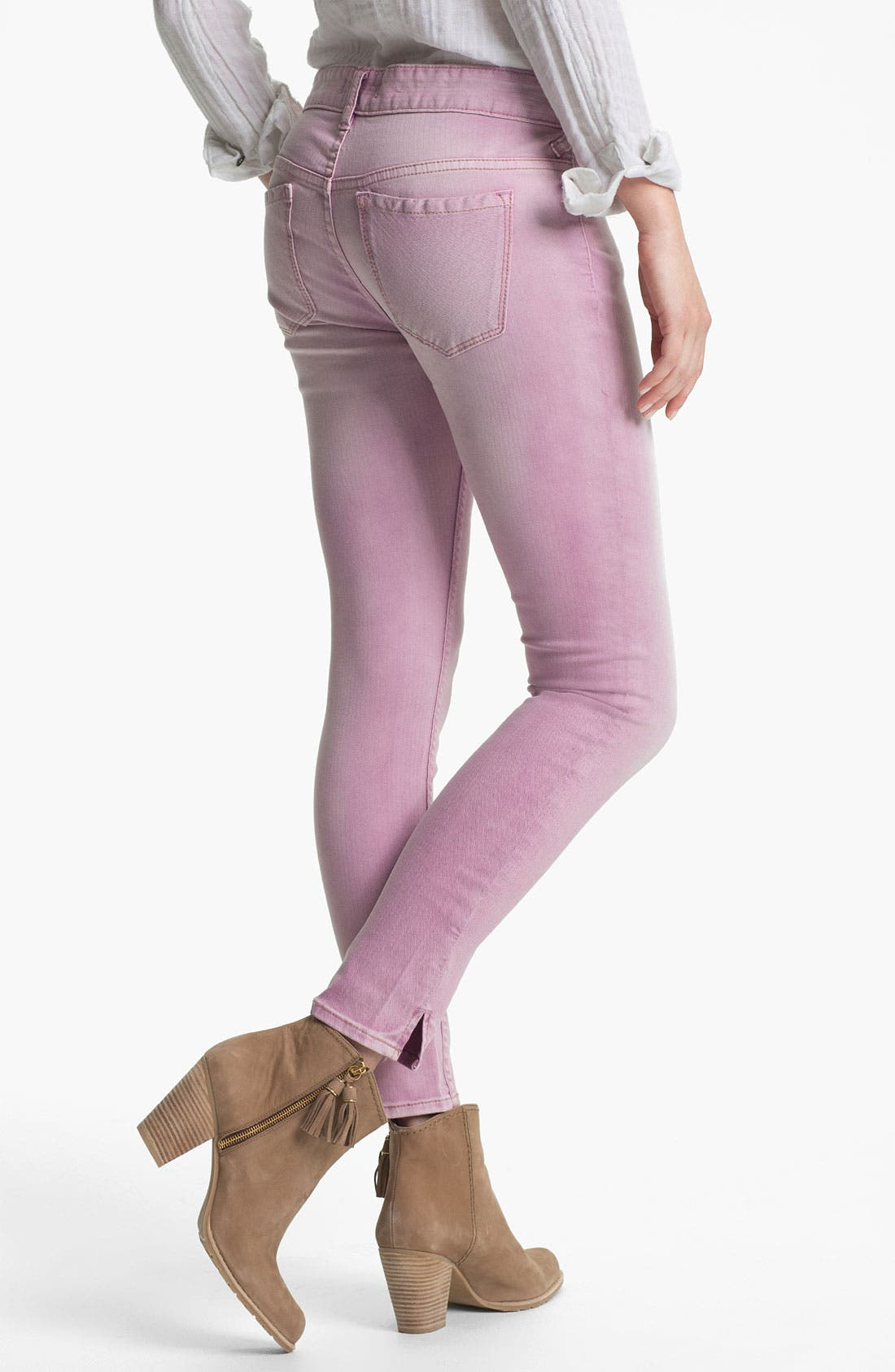 Alternate Image 2  - Free People Crop Stretch Denim Skinny Jeans (Orchid)