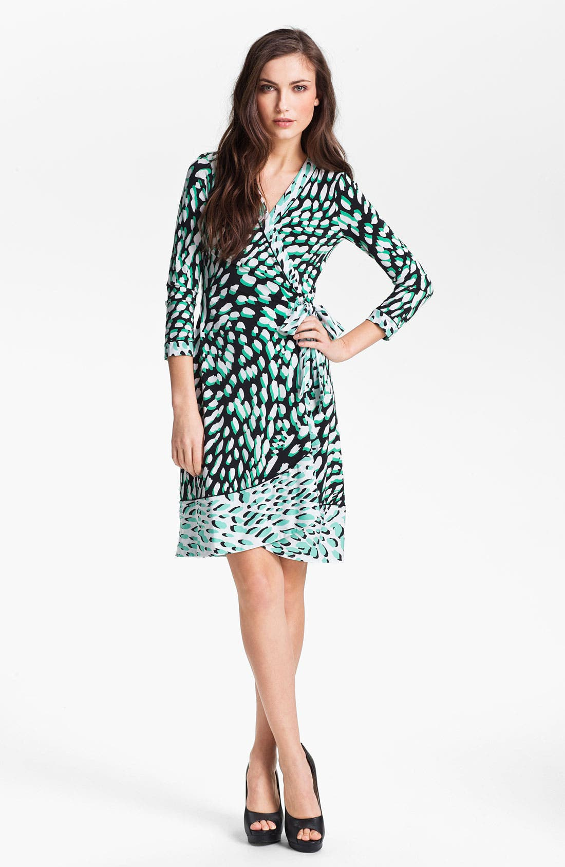 Main Image - BCBGMAXAZRIA Print Jersey Wrap Dress