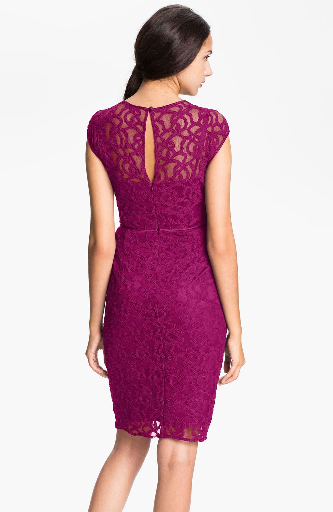 Alternate Image 2  - Adrianna Papell Lace & Mesh Sheath Dress