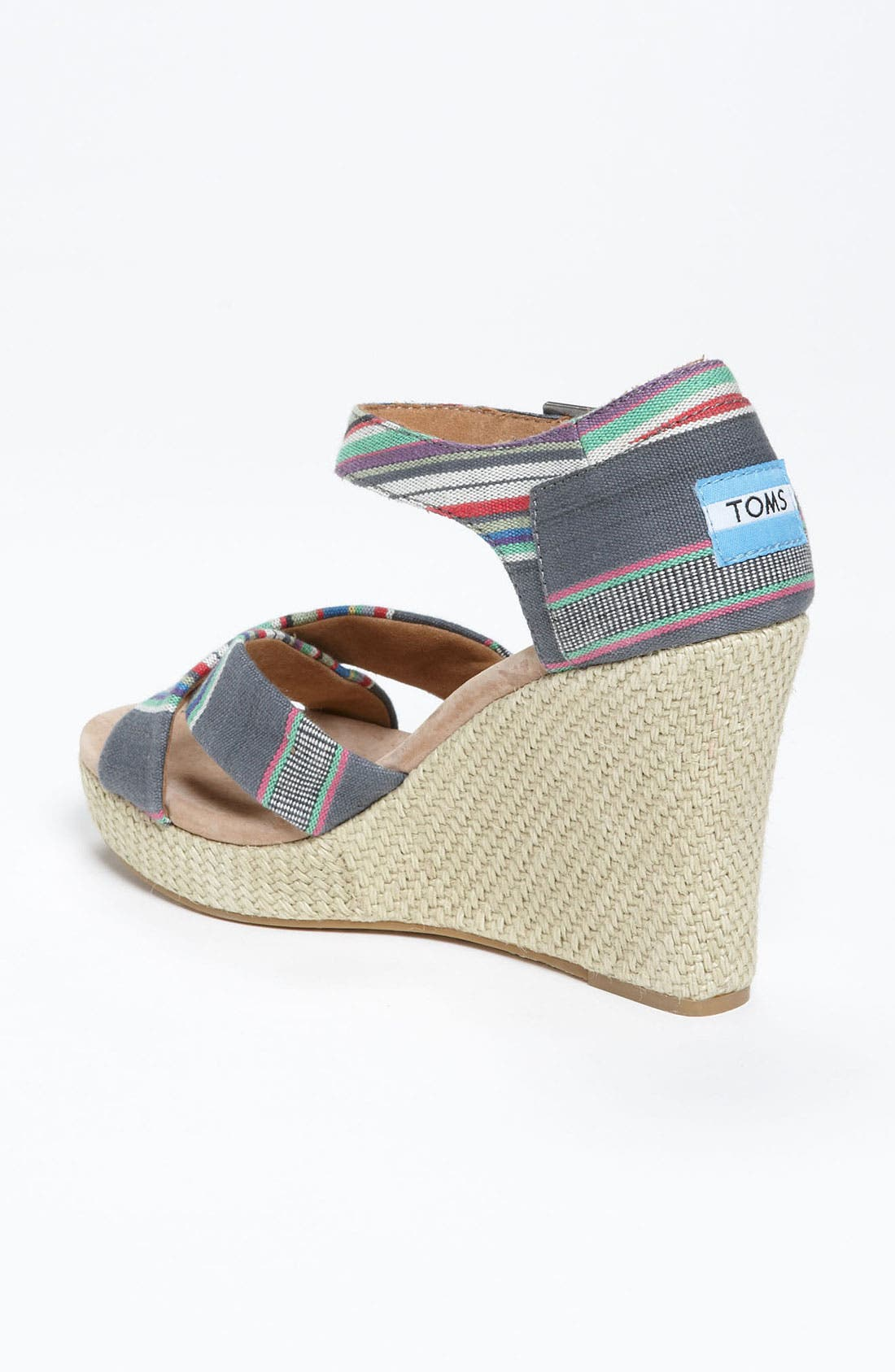 Alternate Image 2  - TOMS Denim Stripe Wedge Sandal
