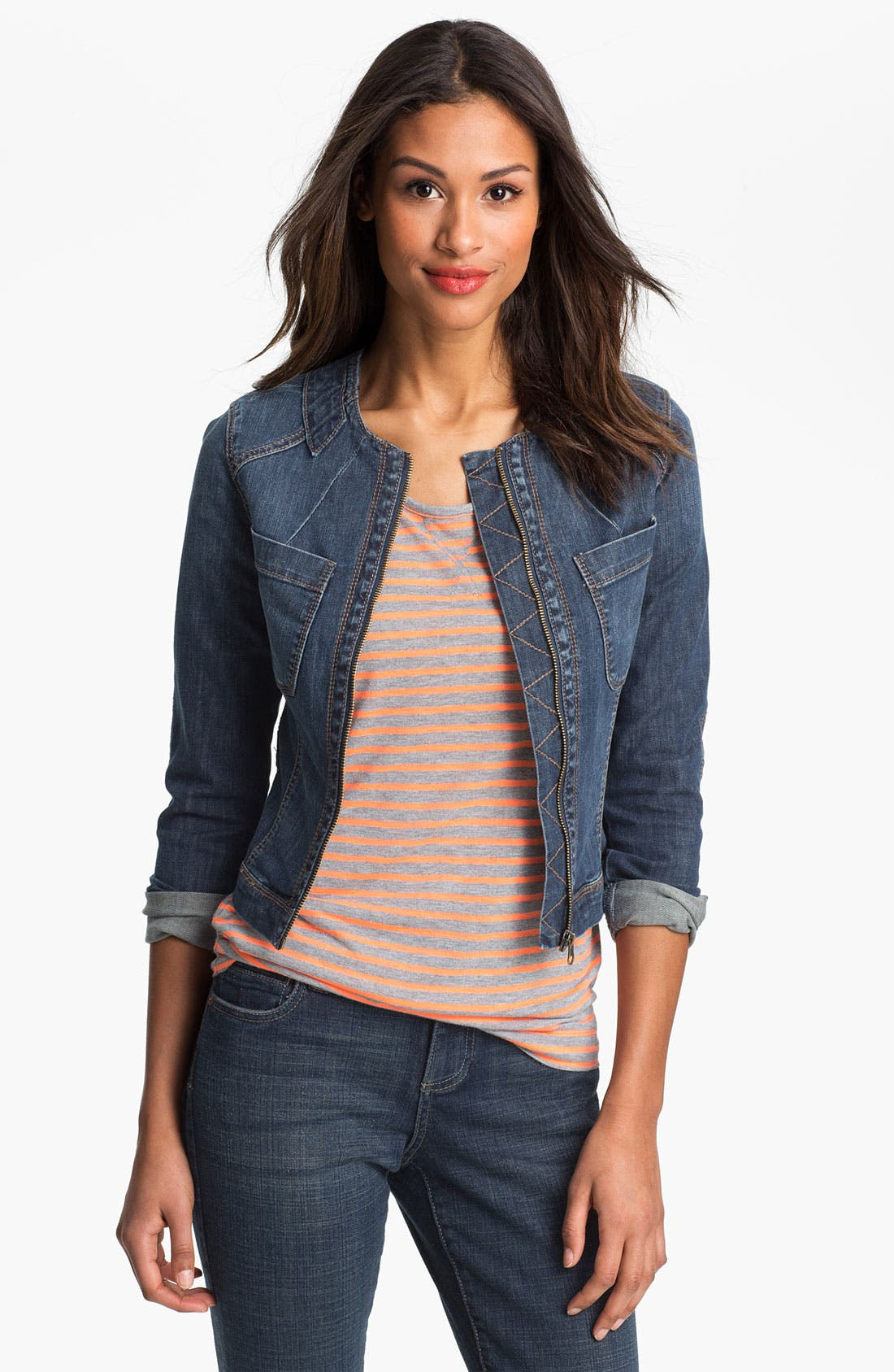 Alternate Image 1 Selected - KUT from the Kloth Collarless Denim Jacket