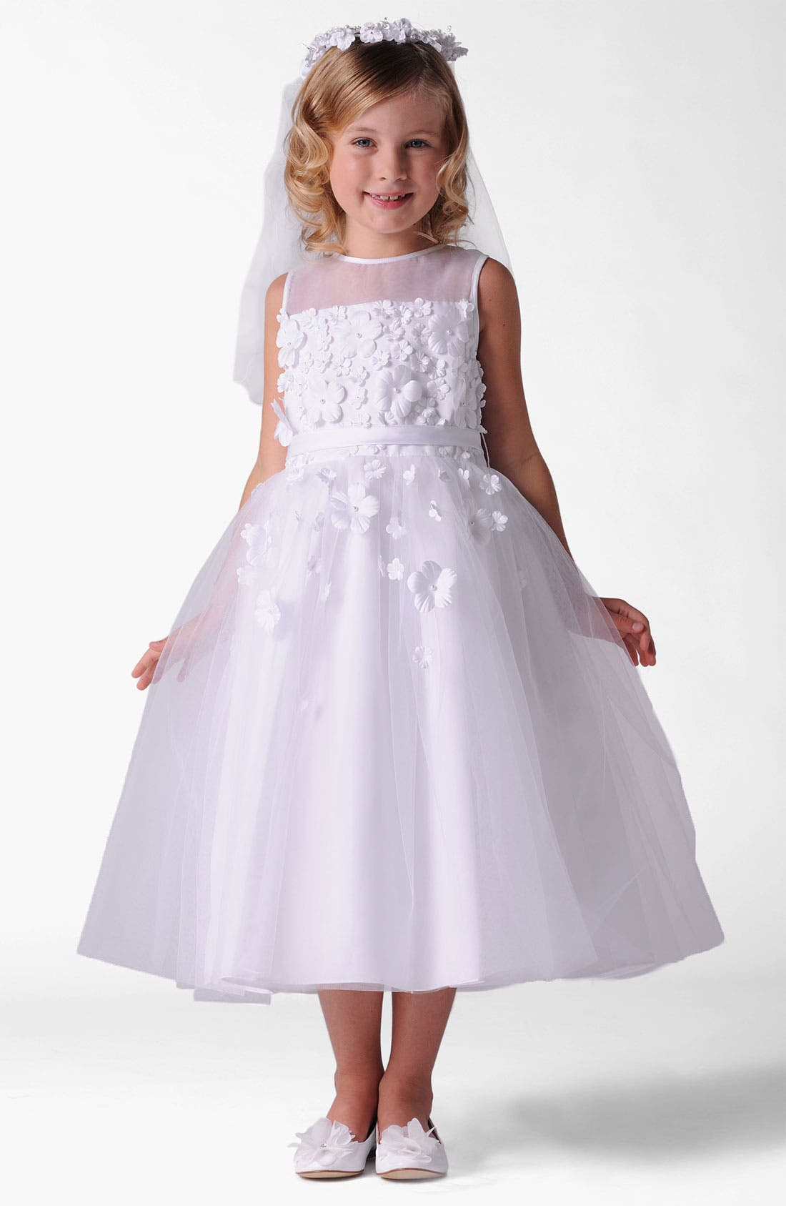 Alternate Image 1 Selected - Us Angels Organza Dress (Little Girls & Big Girls)