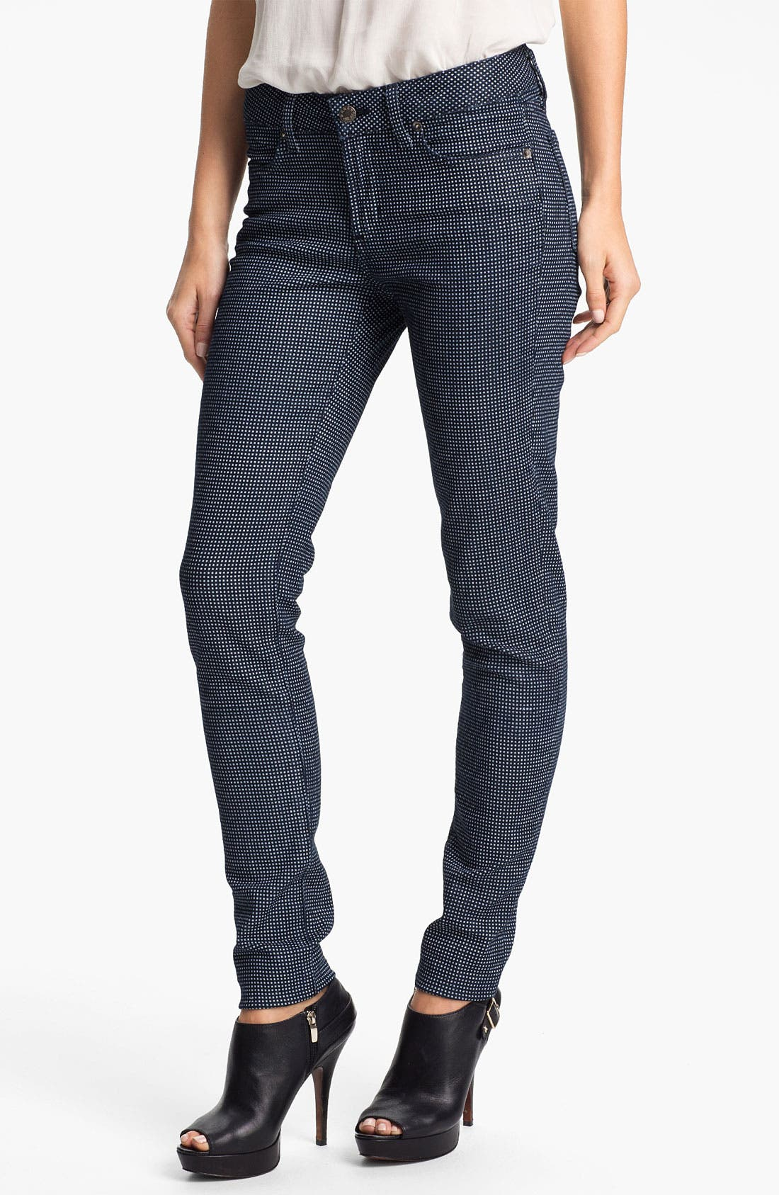 Main Image - Blue Essence Check Print Skinny Jeans (Nordstrom Exclusive)