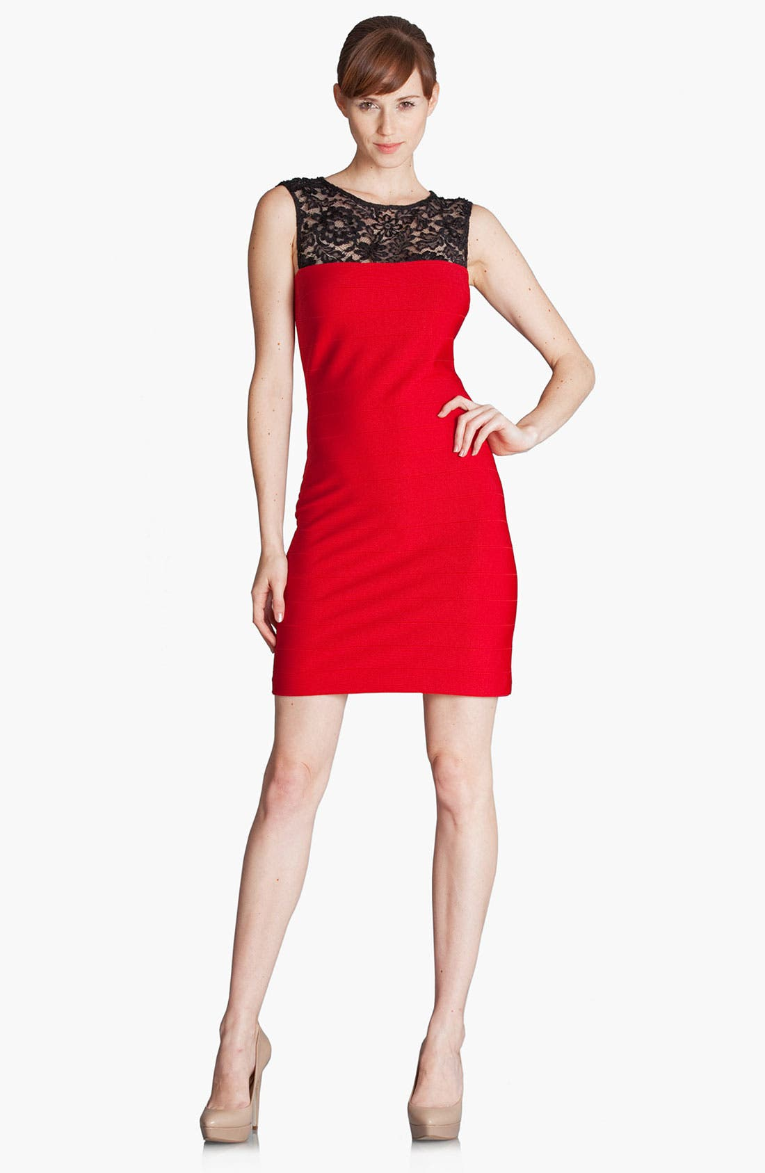 Alternate Image 1 Selected - JS Boutique Lace Yoke Banded Jersey Sheath Dress (Petite)