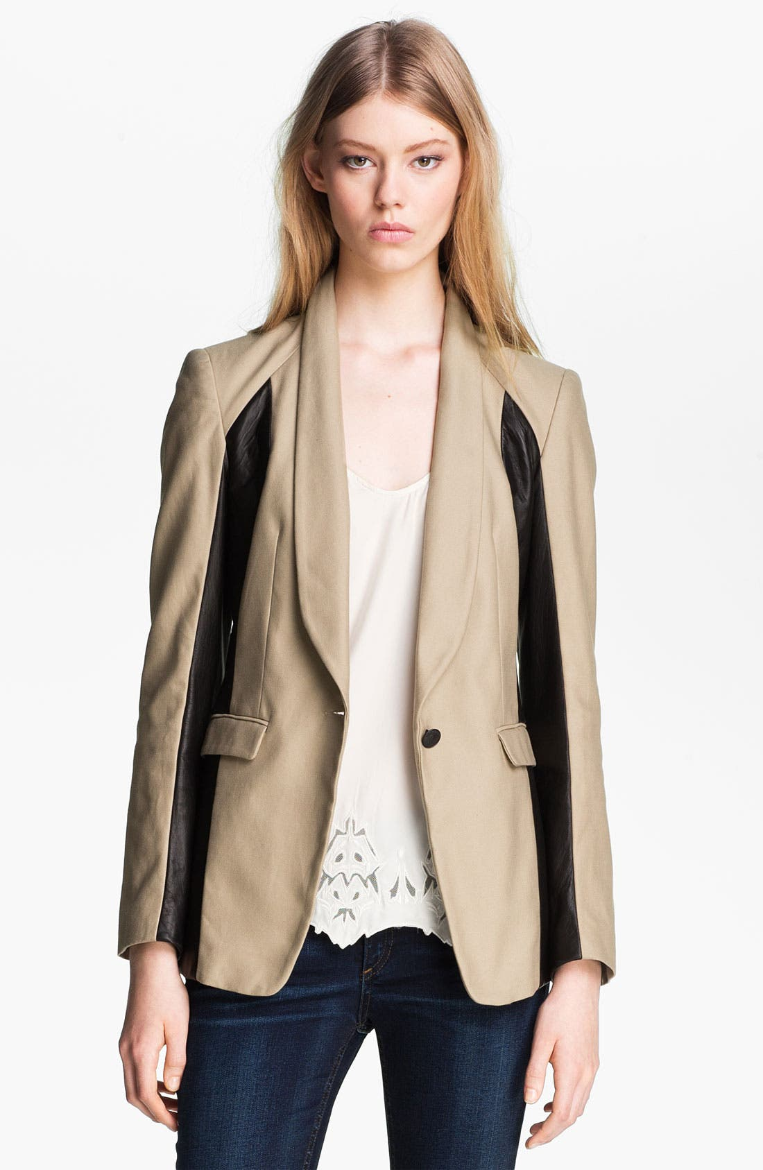 Alternate Image 2  - rag & bone 'Jefferson' Leather Panel Blazer