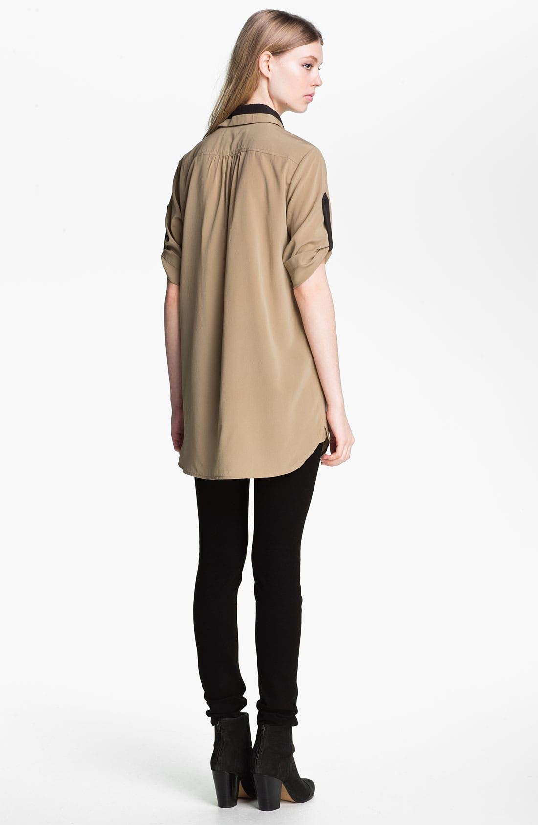 Alternate Image 4  - rag & bone 'Midnight' Tab Sleeve Silk Shirt