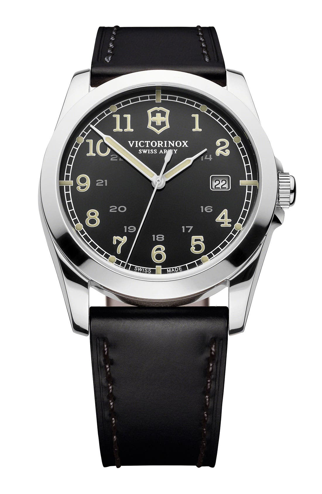 Alternate Image 1 Selected - Victorinox Swiss Army® 'Infantry' Leather Strap Watch