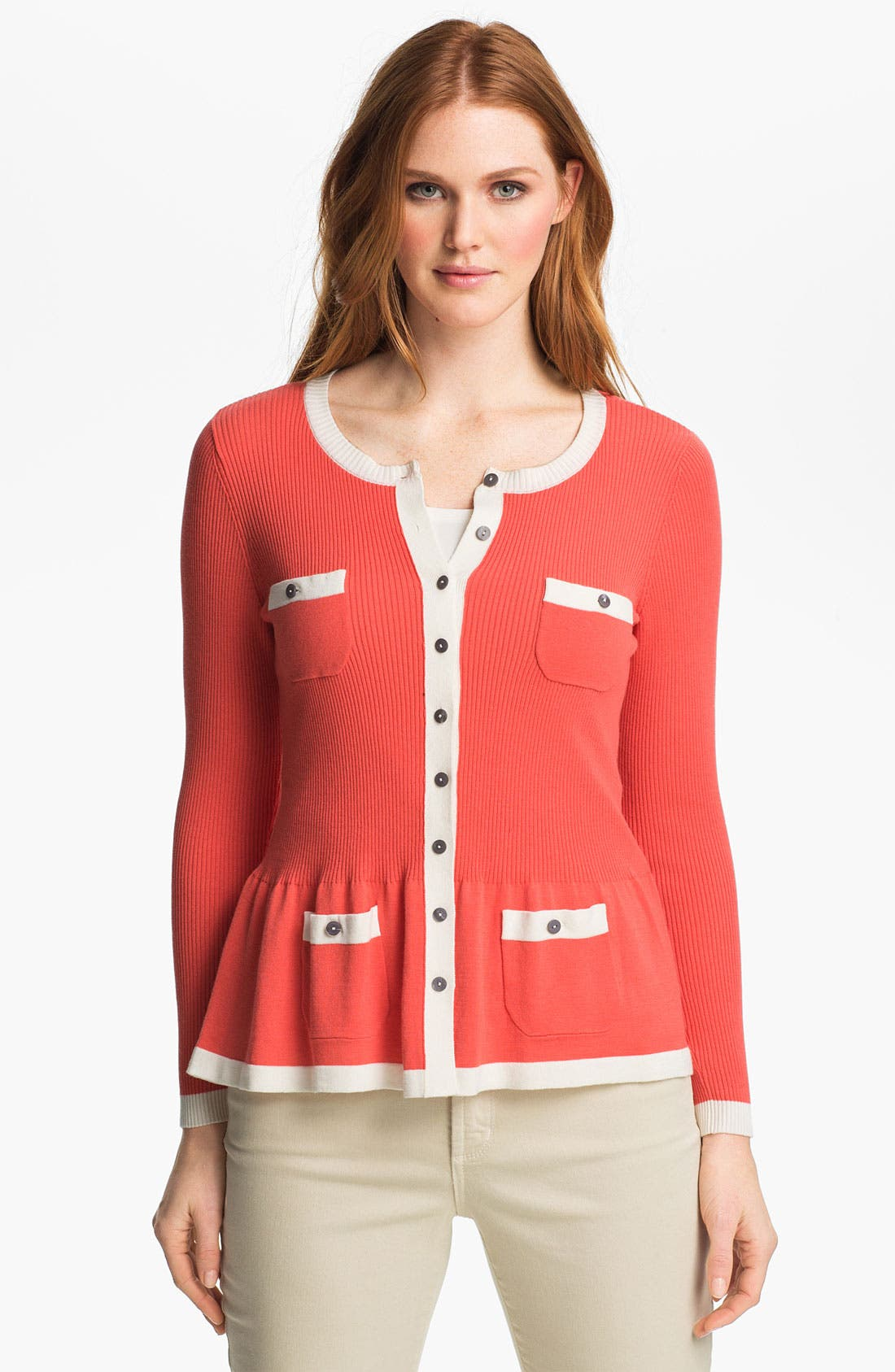 Main Image - Nic + Zoe Two Tone Peplum Sweater Jacket