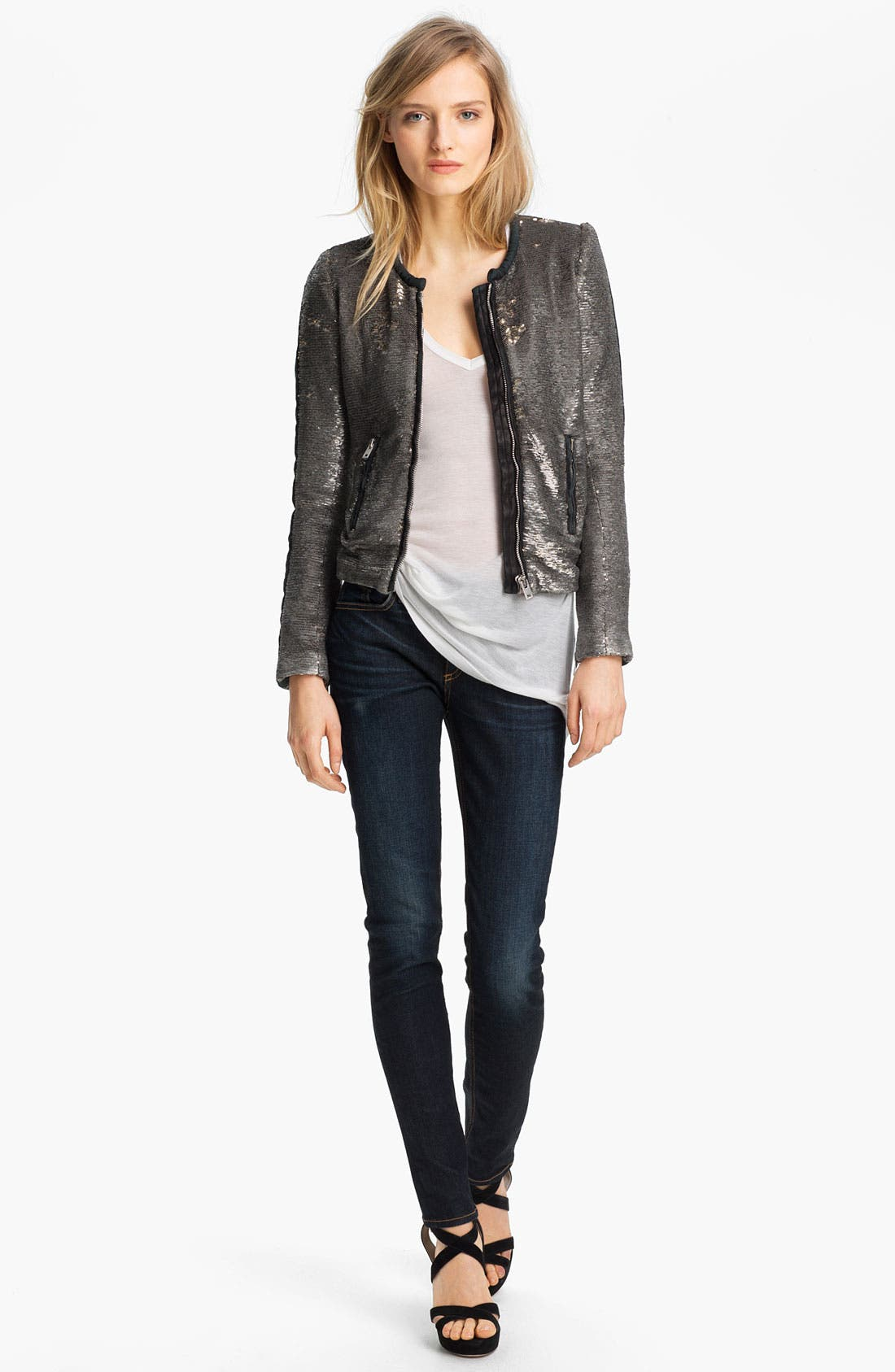 Alternate Image 2  - IRO Collarless Sequin Jacket