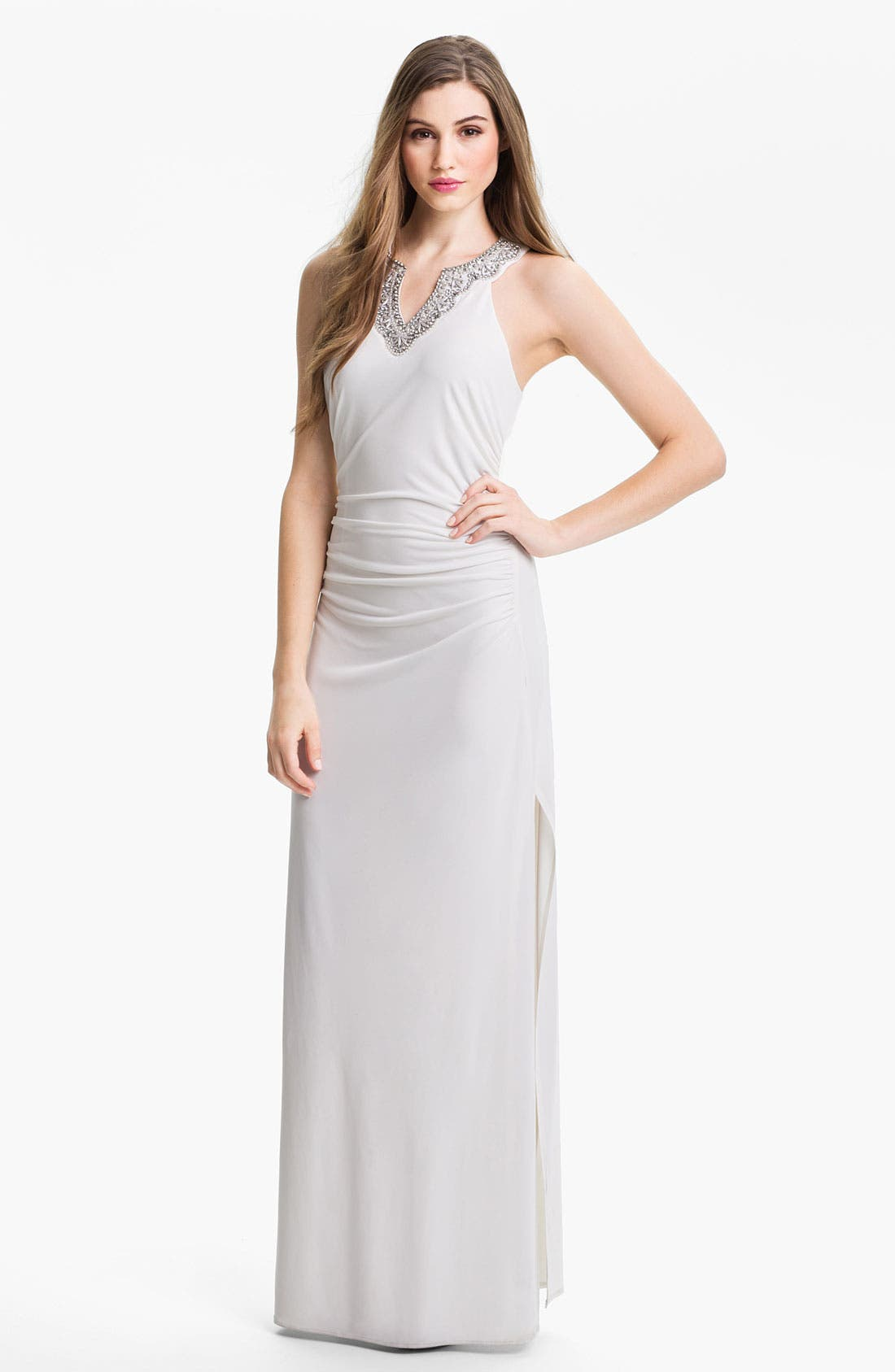 Alternate Image 1 Selected - Laundry by Shelli Segal Embellished Racerback Jersey Gown