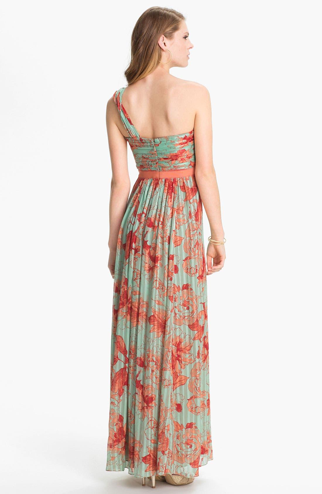 Alternate Image 2  - BCBGMAXAZRIA 'Inga' Print Silk Chiffon Gown