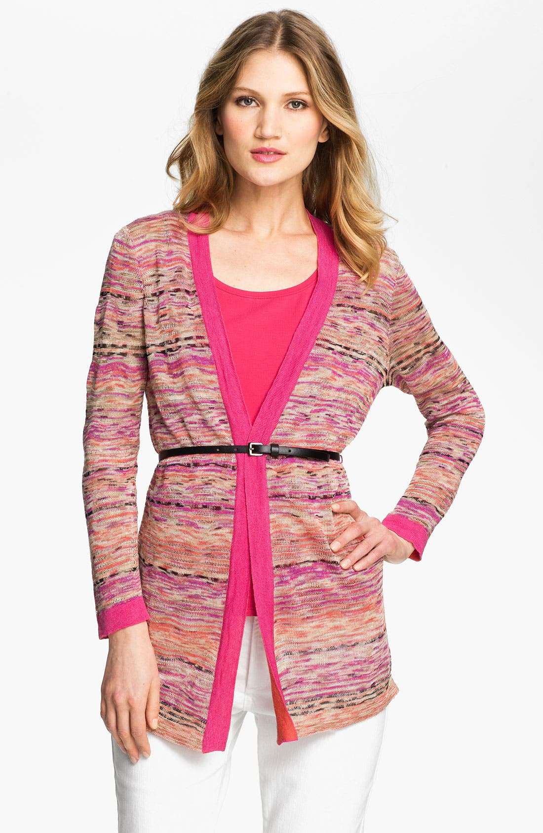 Alternate Image 1 Selected - Nic + Zoe 'Heat Mix' Belted Cardigan (Petite)