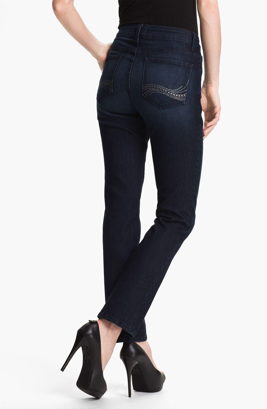 Alternate Image 2  - NYDJ Studded 'Sheri' Skinny Jeans (Petite)