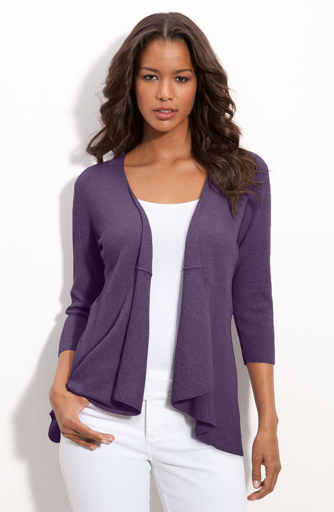 Alternate Image 1 Selected - Eileen Fisher Open Front Wool Crepe Cardigan (Petite)