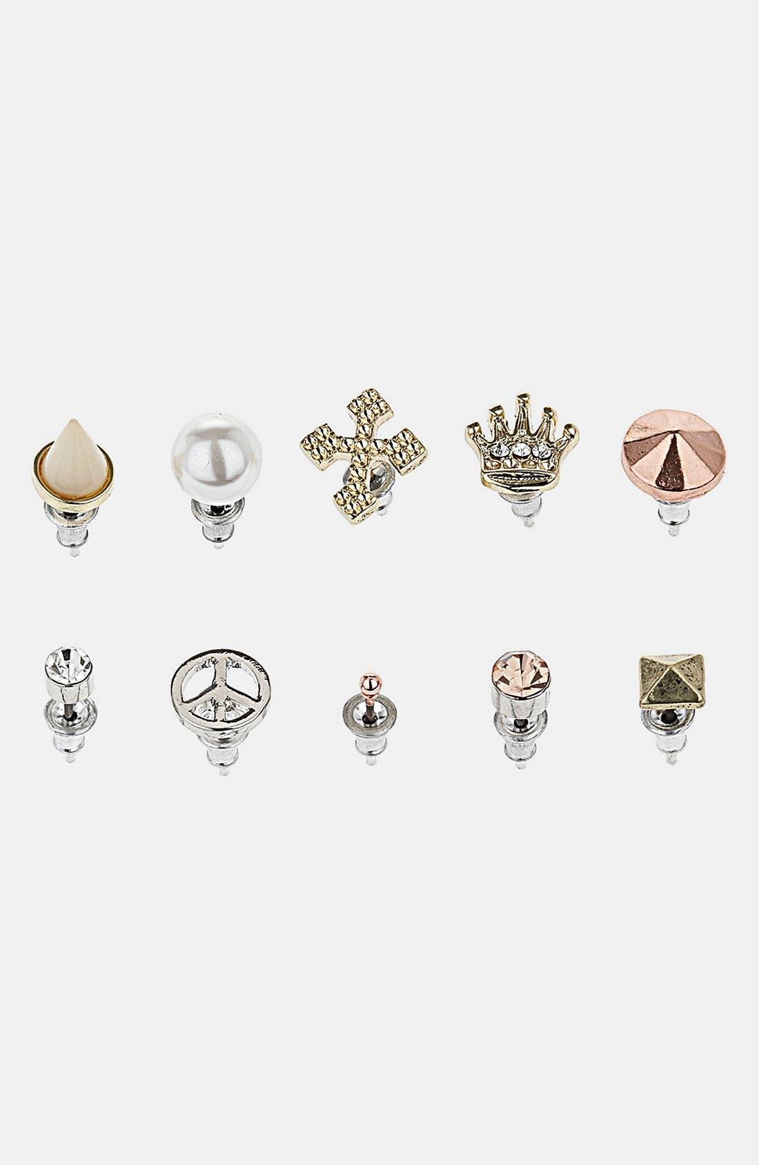 Main Image - Topshop 'Crown Cross' Assorted Earrings