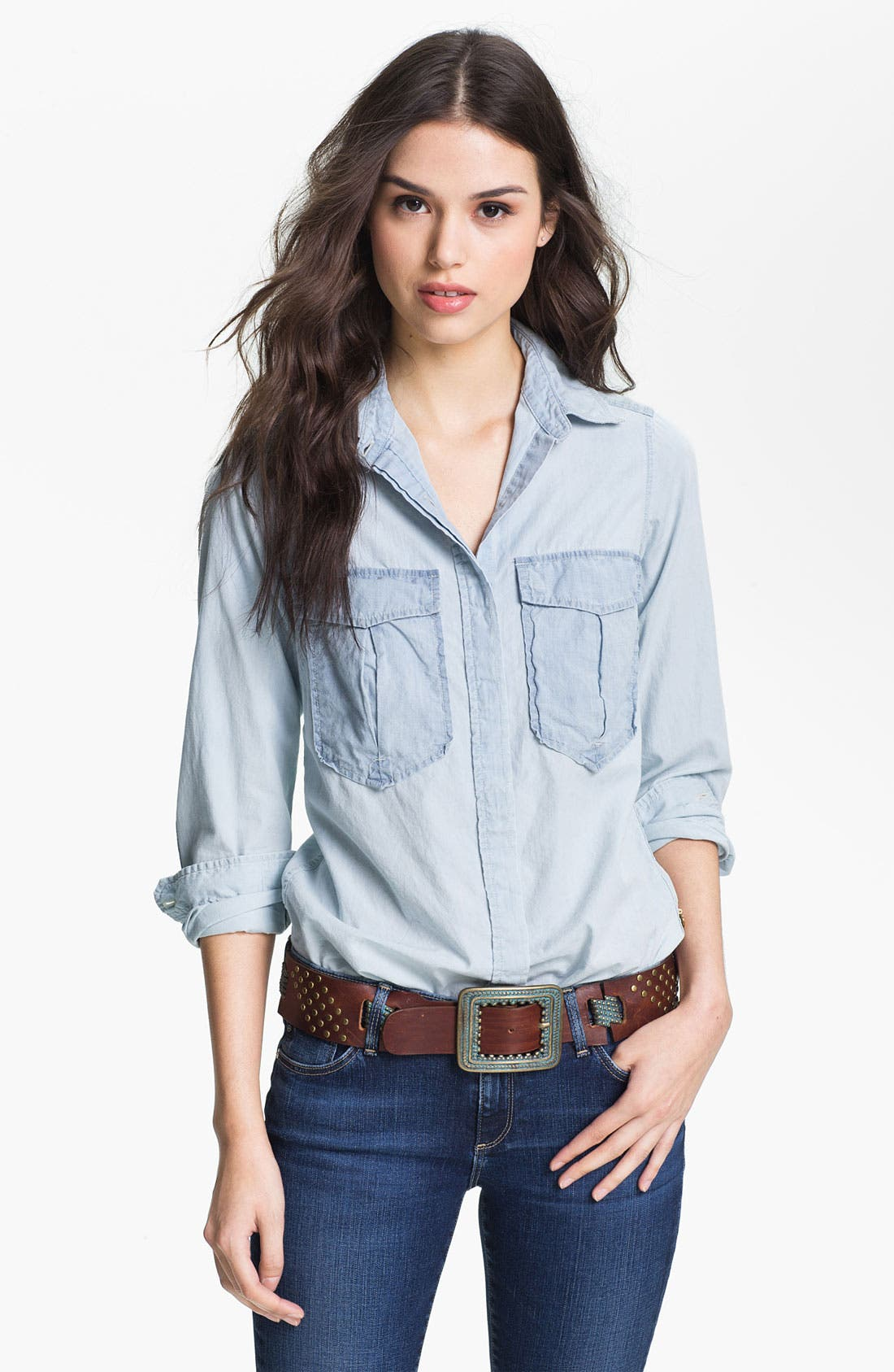 Alternate Image 1 Selected - Maison Scotch Two Tone Chambray Shirt
