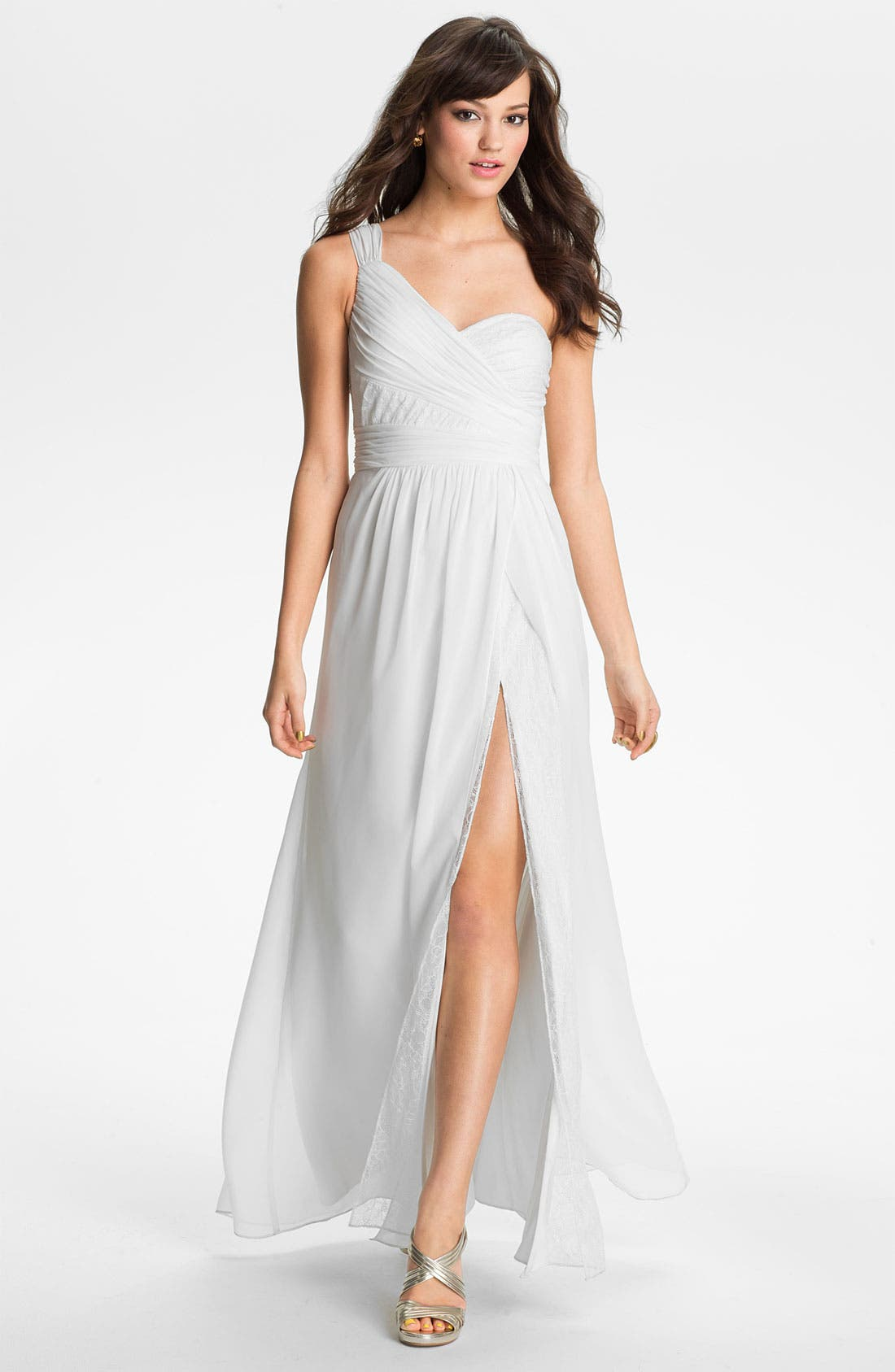 Main Image - Hailey by Adrianna Papell One Shoulder Lace & Chiffon Gown (Online Only)