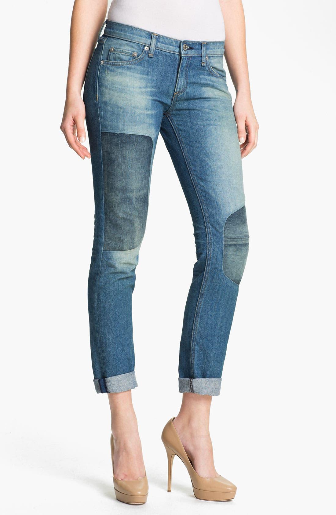 Main Image - rag & bone/JEAN 'The Dre' Patch Detail Rigid Jeans