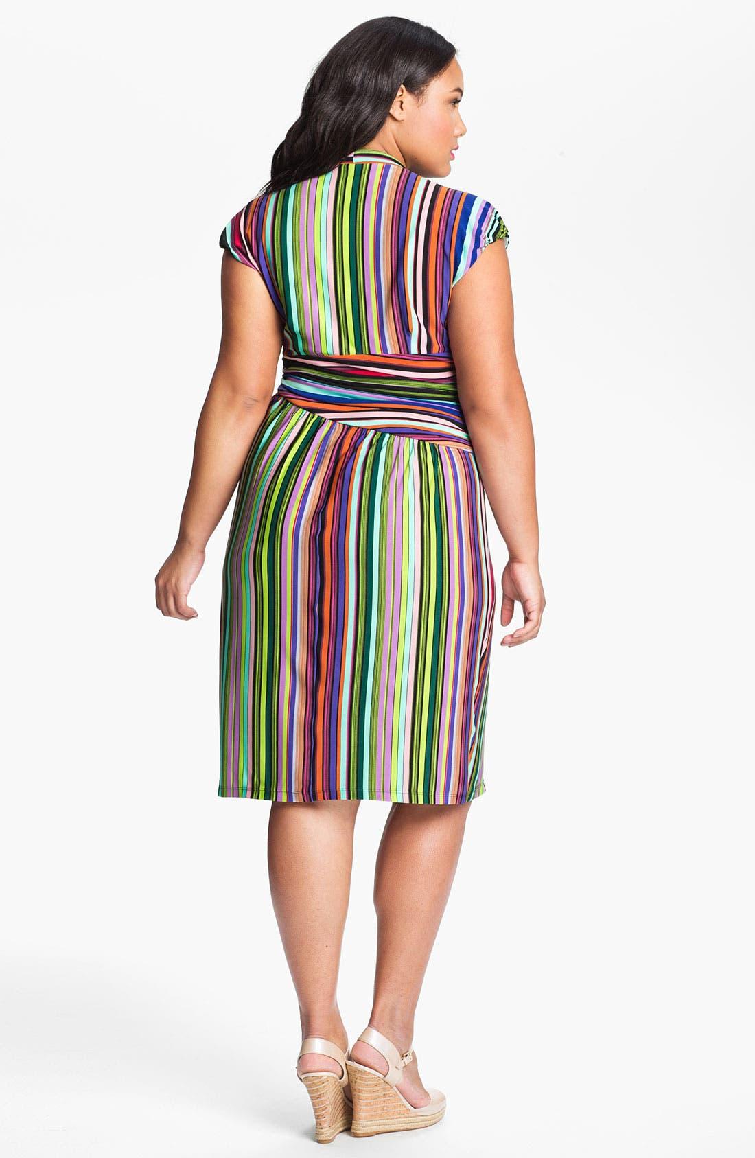 Alternate Image 2  - Suzi Chin for Maggy Boutique Stripe Jersey Faux Wrap Dress (Plus Size)