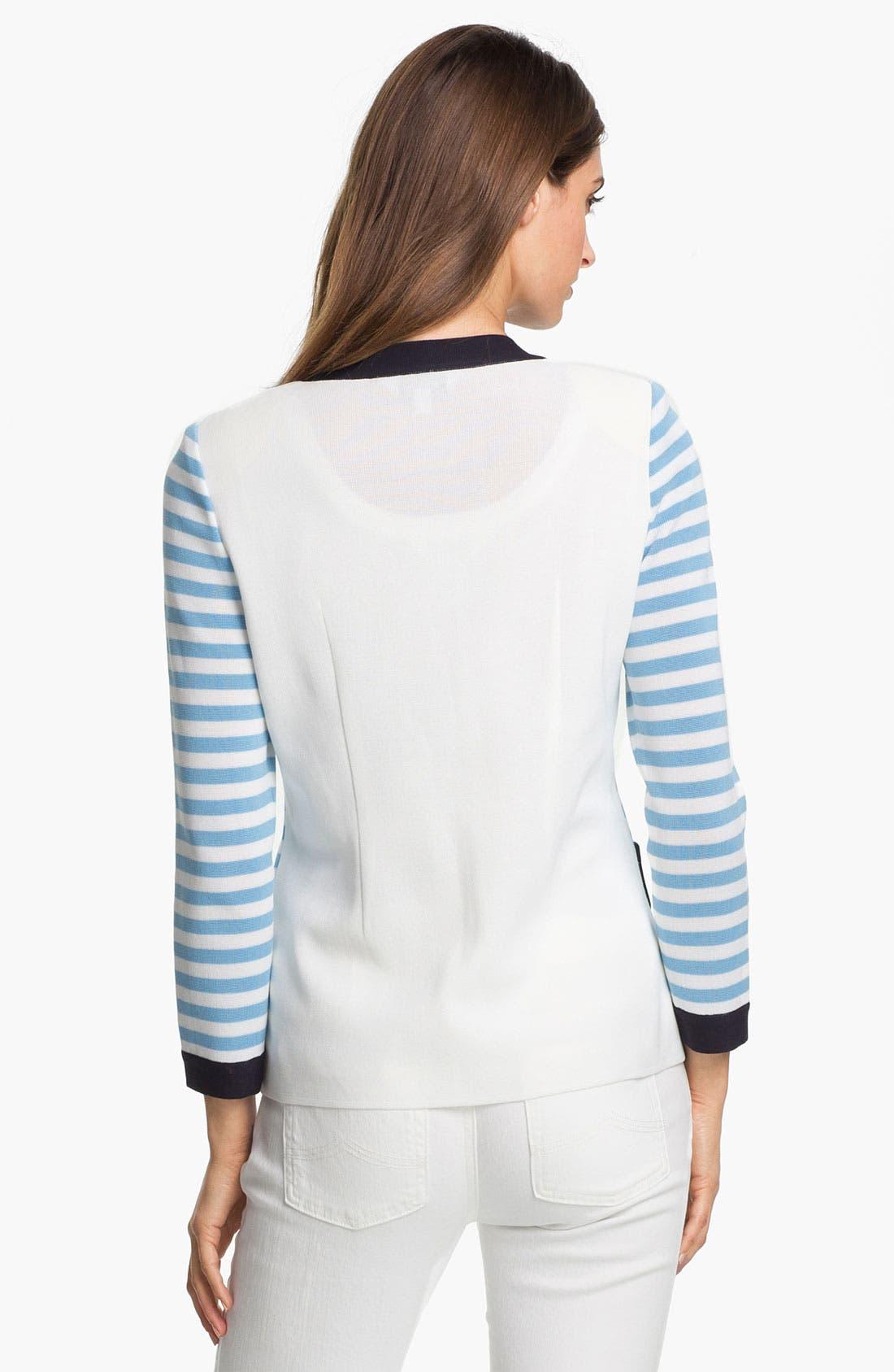 Alternate Image 2  - Exclusively Misook 'Rebecca' Stripe Jacket (Petite) (Online Exclusive)