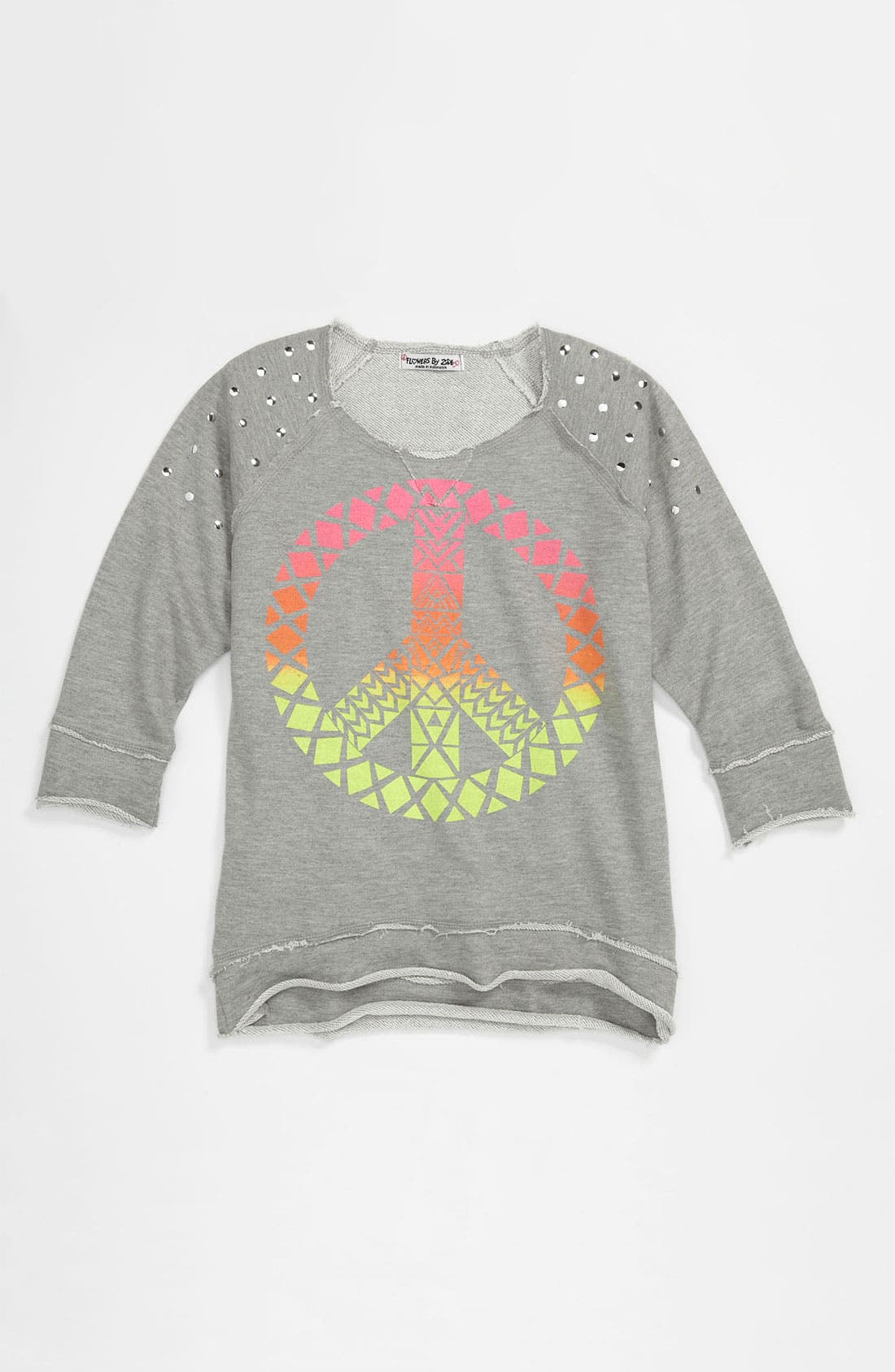 Alternate Image 1 Selected - Flowers by Zoe 'Peace' Sweatshirt (Big Girls)