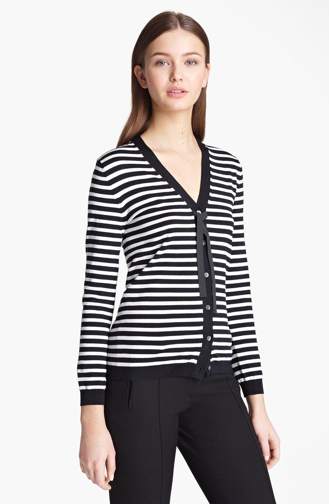 Alternate Image 1 Selected - Jil Sander Navy Stripe Stretch Knit Cardigan