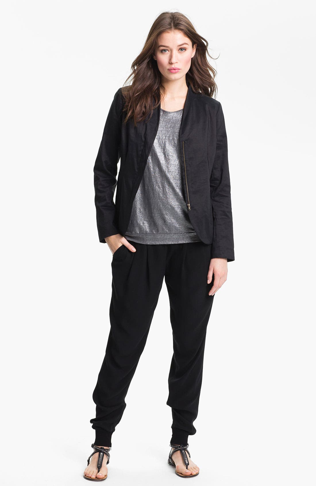 Alternate Image 3  - Eileen Fisher High Collar Peplum Jacket