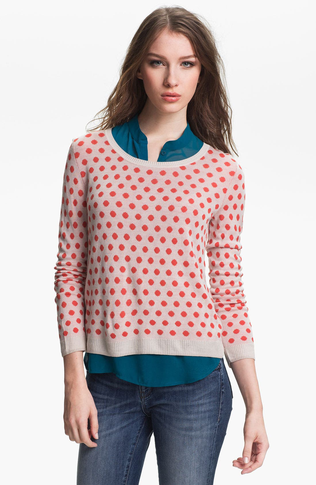 Main Image - Kensie Reversible Dot Sweater