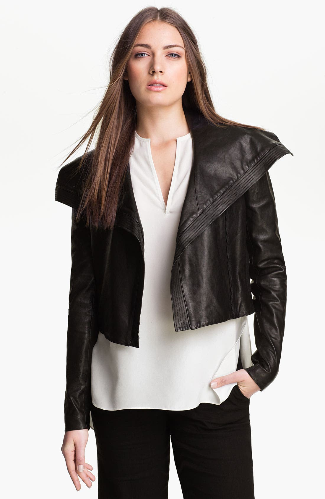 Alternate Image 1 Selected - Vince Asymmetrical Leather Jacket