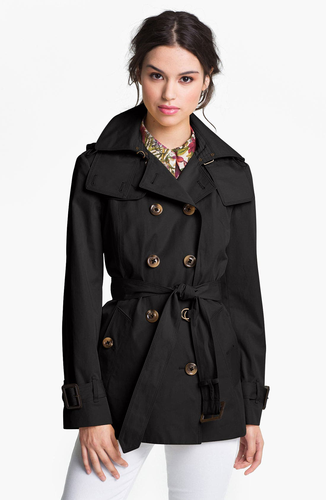 Main Image - London Fog Short Trench Coat with Detachable Hood