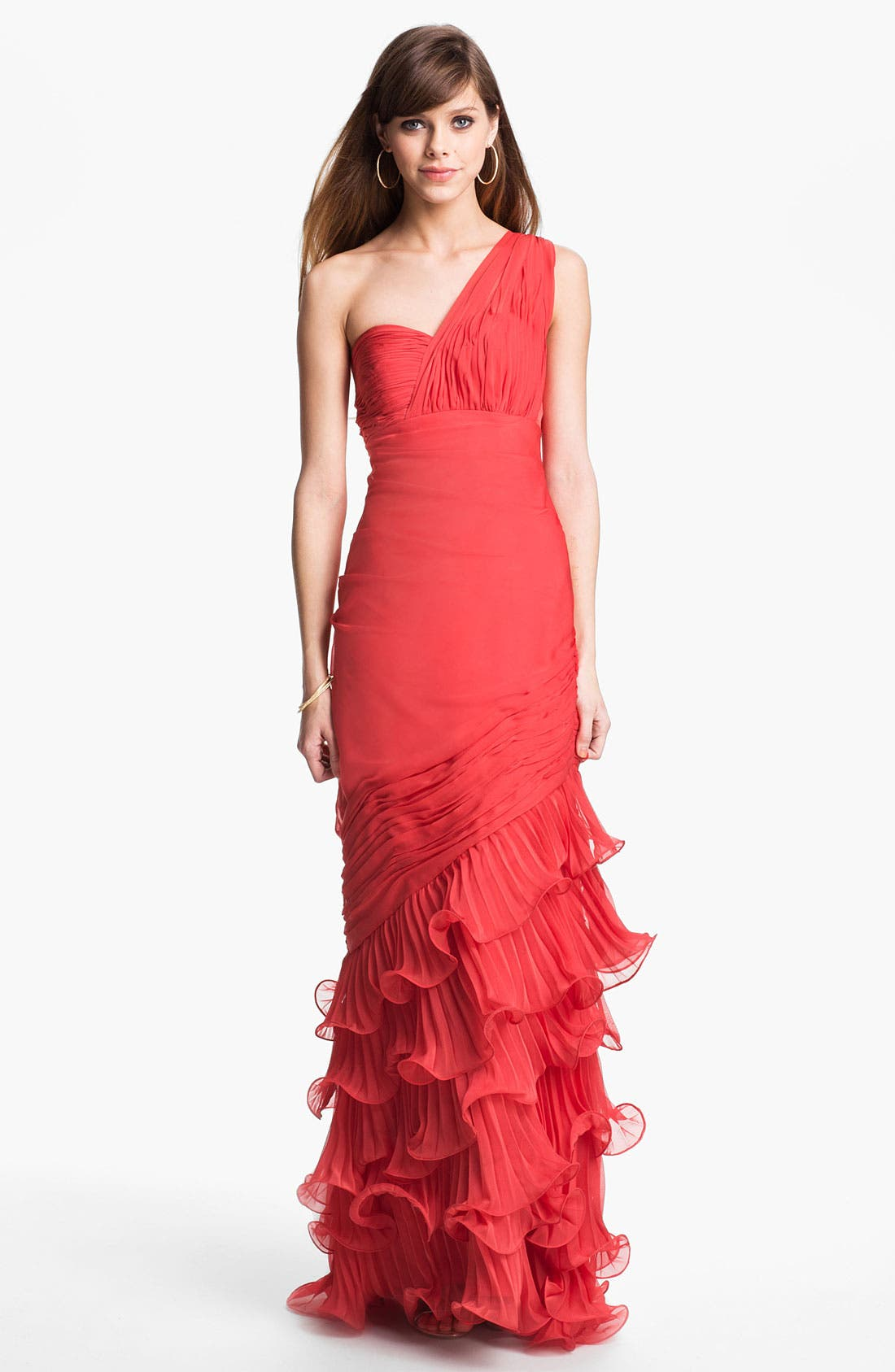 Main Image - Dalia MacPhee One Shoulder Ruffle Gown