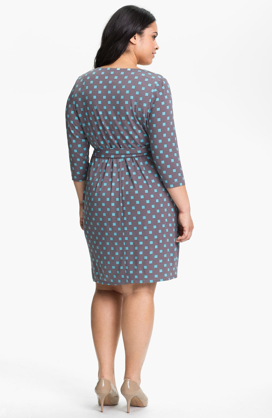 Alternate Image 2  - Suzi Chin for Maggy Boutique Print Wrap Dress (Plus Size)