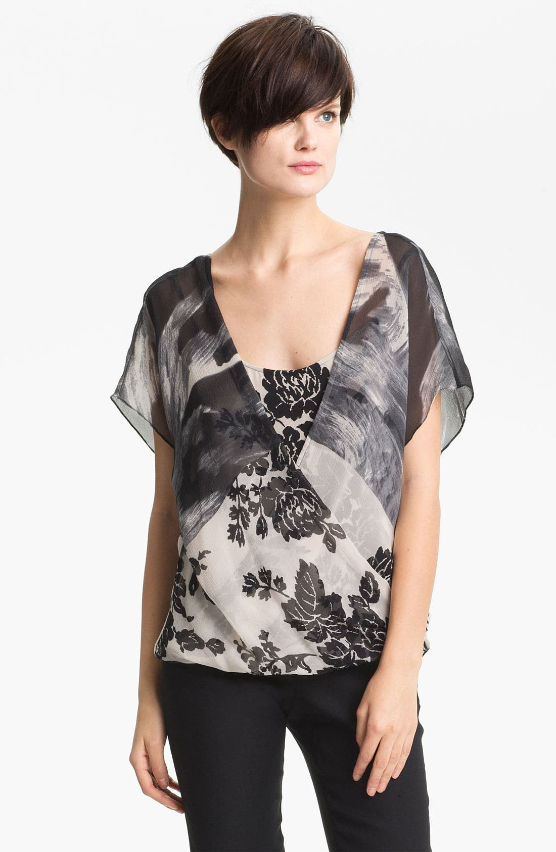 Alternate Image 1 Selected - Tracy Reese Contrast Yoke Silk Top