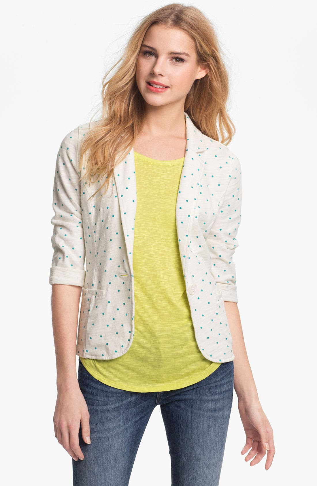 Alternate Image 1 Selected - Caslon® Roll Sleeve Knit Blazer (Petite)