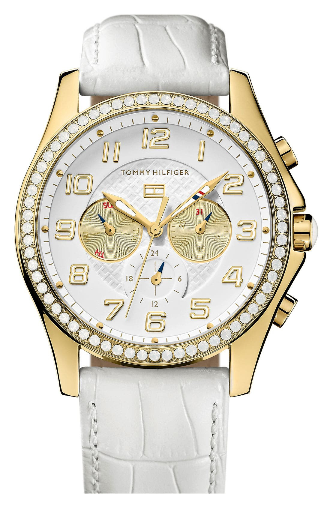 Main Image - Tommy Hilfiger Crystal Bezel Multifunction Watch, 41mm