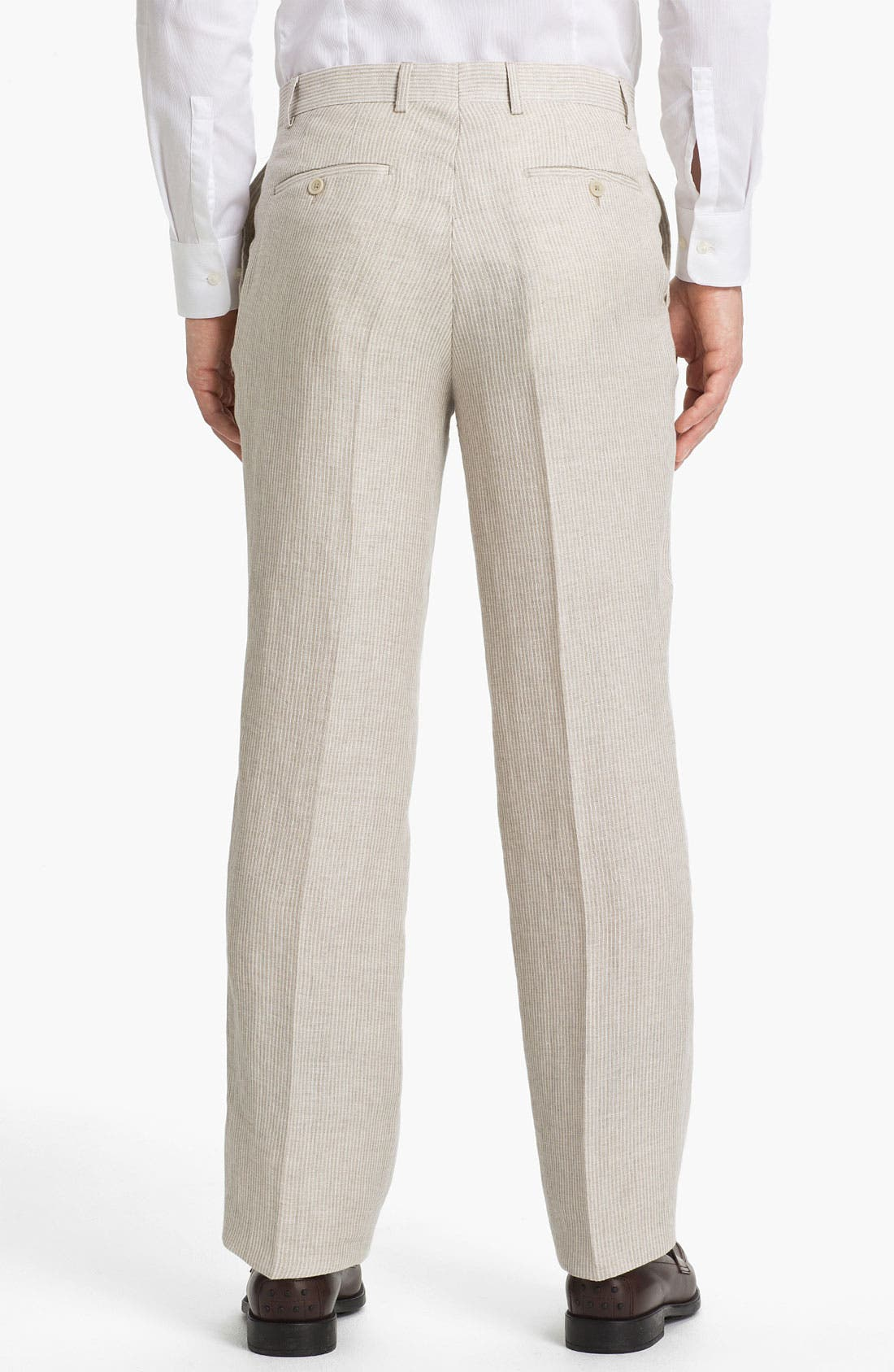 Alternate Image 2  - Linea Naturale 'Rope Stripe' Flat Front Linen Trousers
