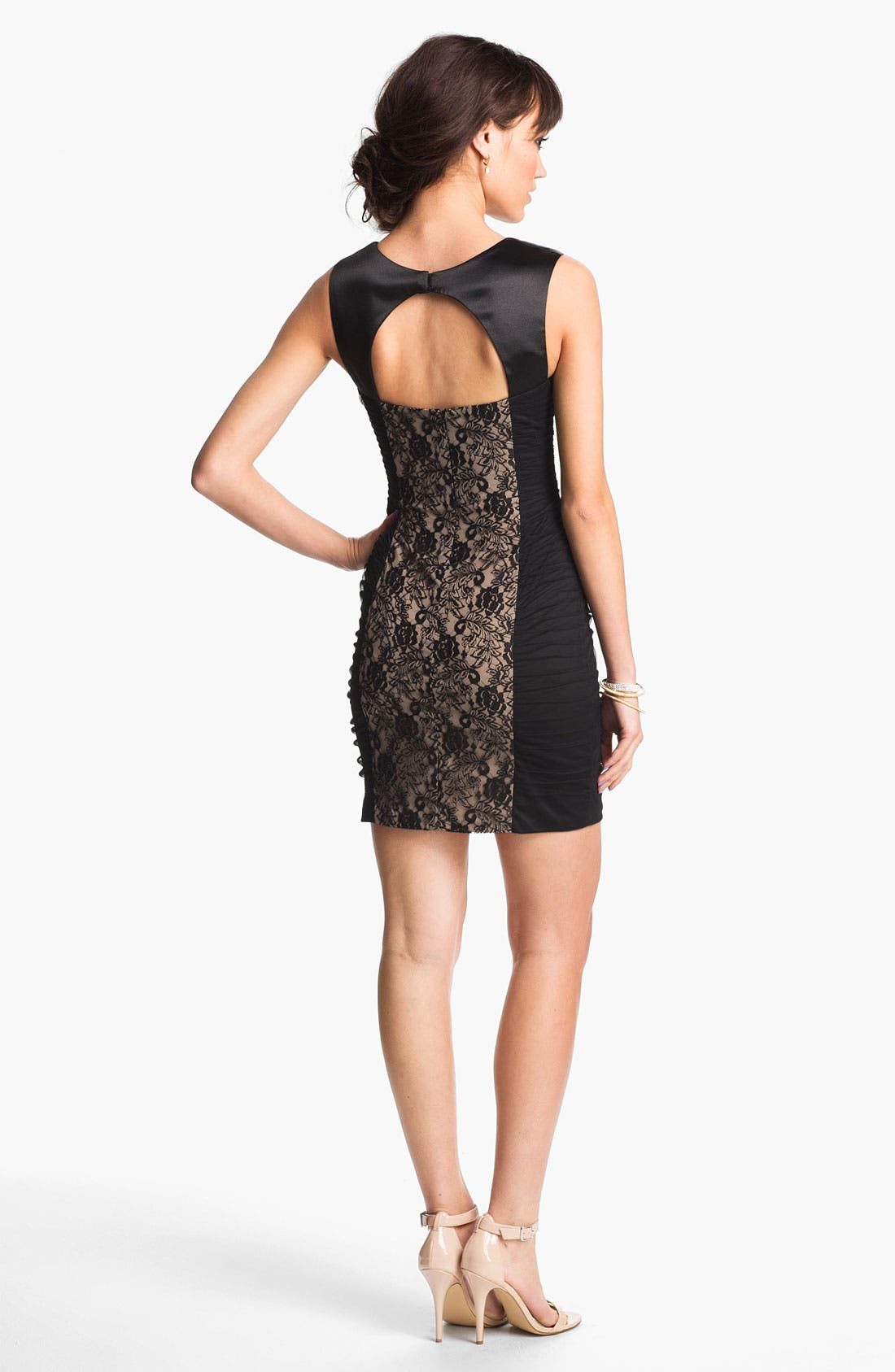 Alternate Image 2  - Hailey Logan Lace Panel Body-Con Dress (Juniors) (Online Exclusive)