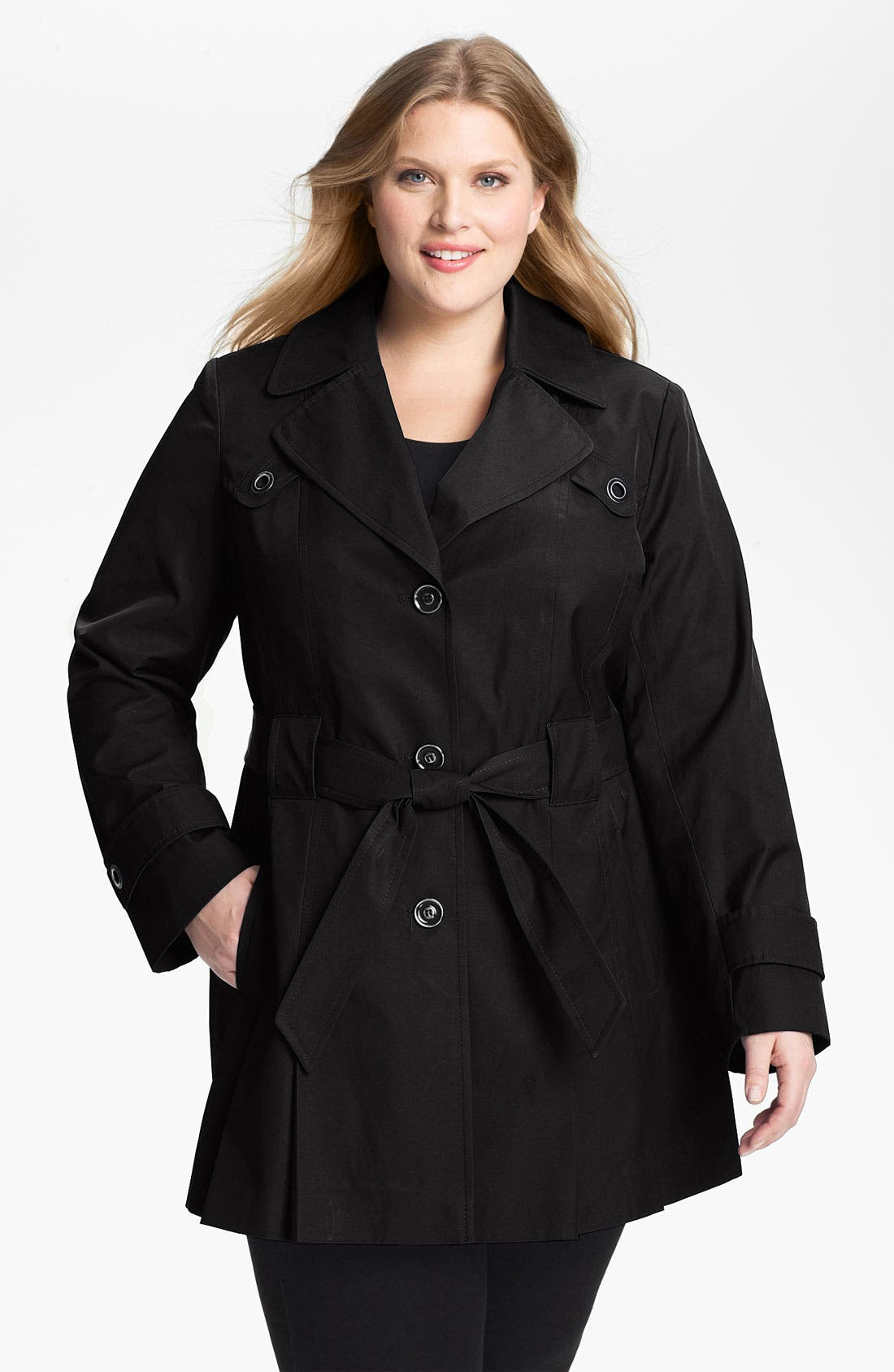 Alternate Image 1 Selected - Via Spiga Pleated Trench Coat (Plus Size)