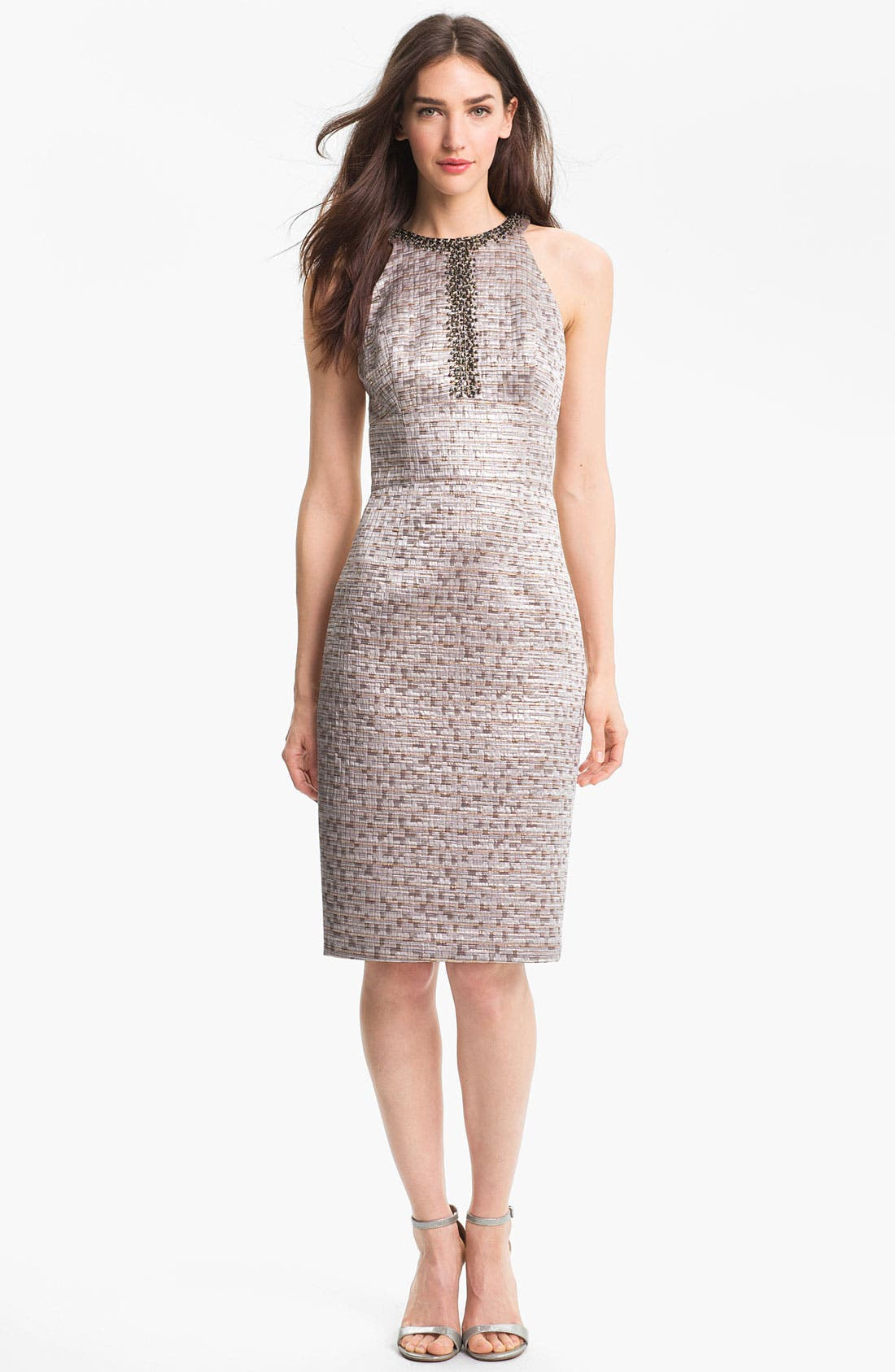 Alternate Image 1 Selected - Maggy London Embellished Brocade Sheath Dress
