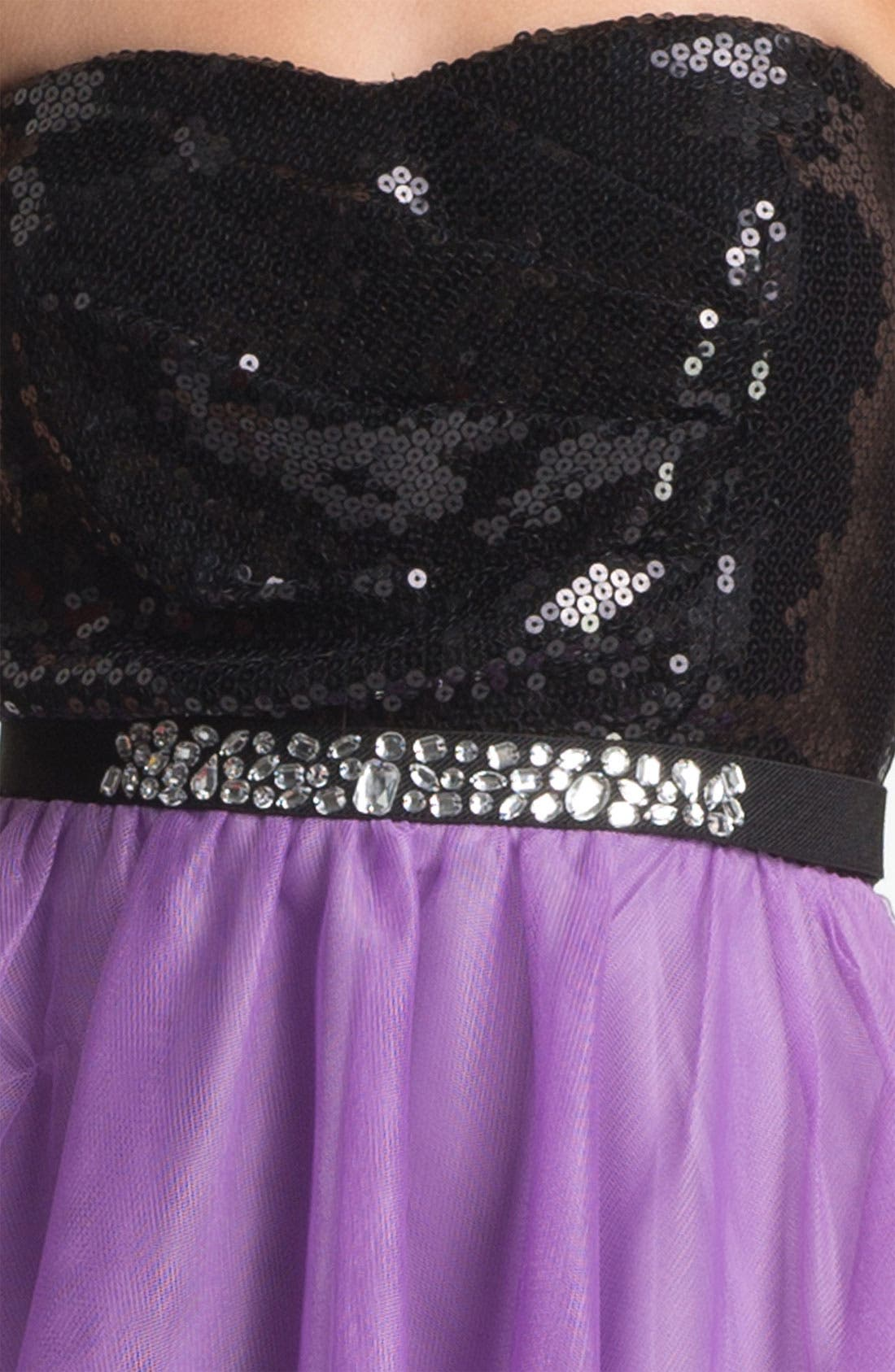 Alternate Image 3  - Trixxi Sequin & Tulle Party Dress (Juniors) (Online Only)