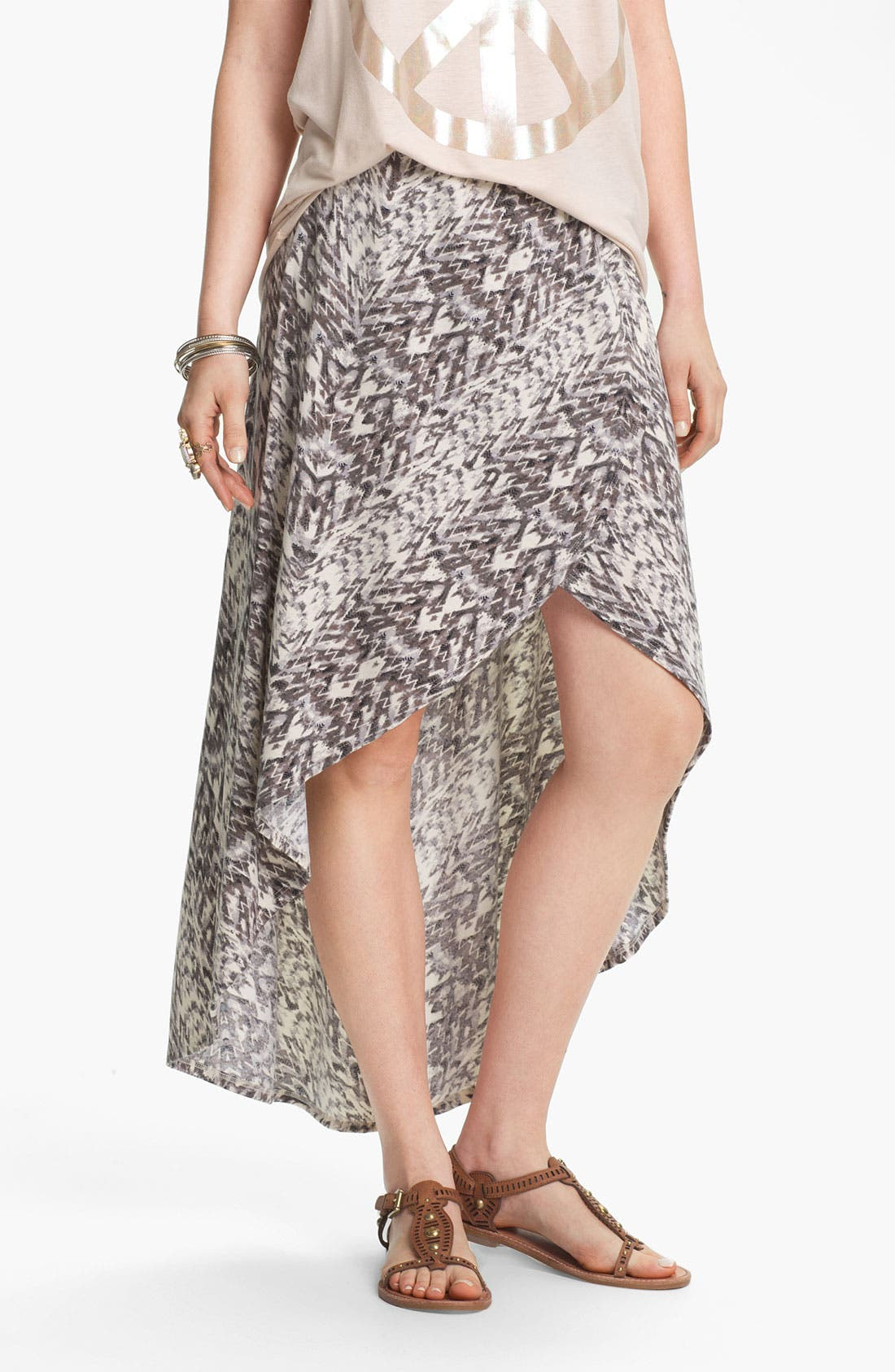 Alternate Image 3  - Lily White High/Low Print Faux Wrap Skirt (Juniors)