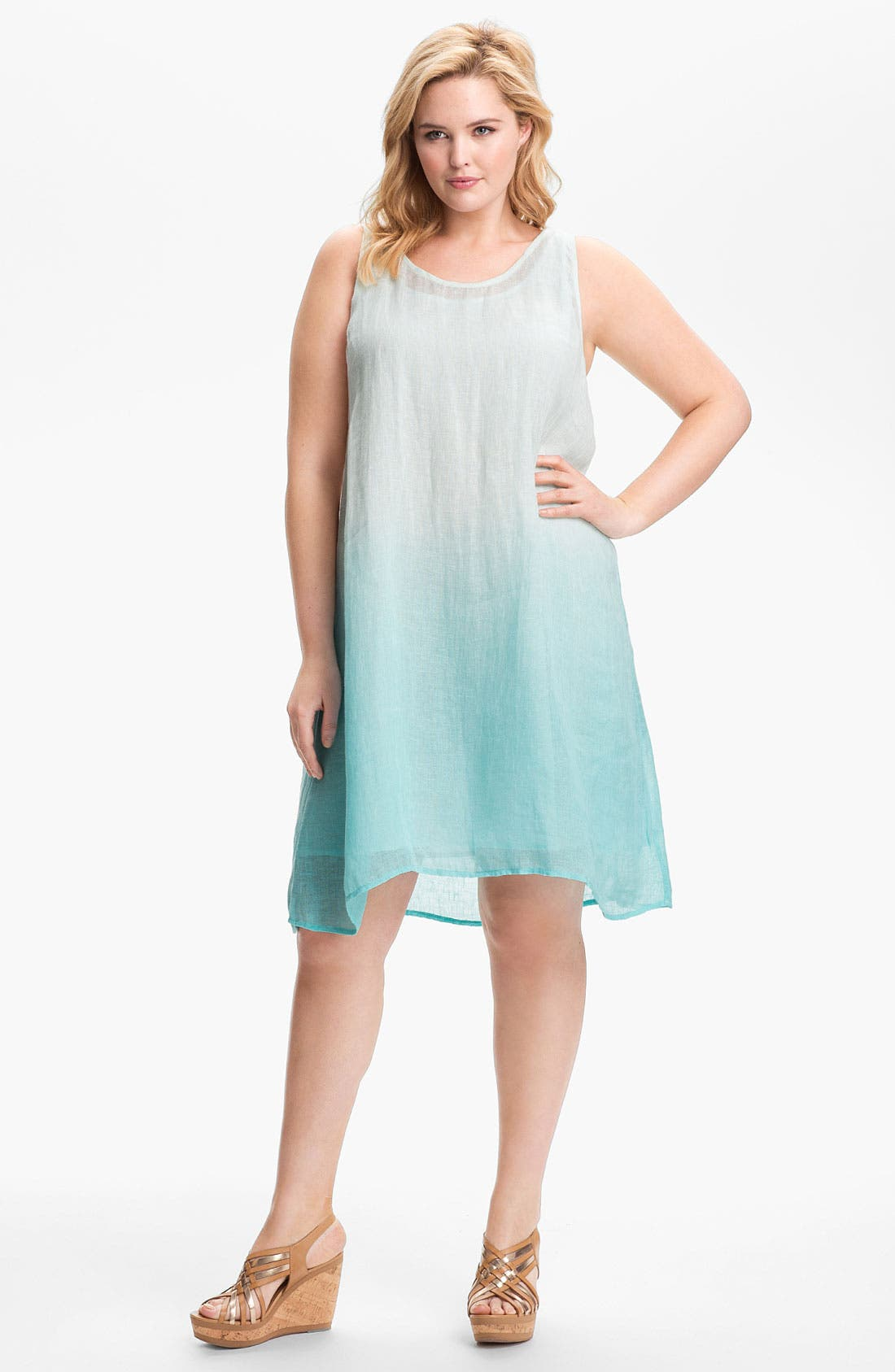 Alternate Image 1 Selected - Eileen Fisher Linen A-Line Dress (Plus)