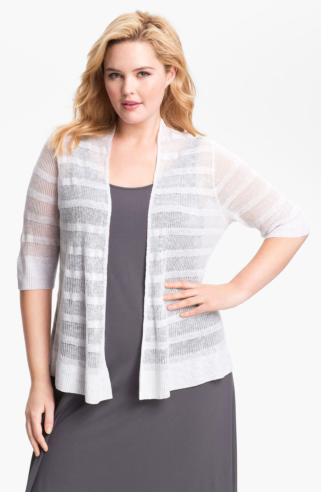 Alternate Image 1 Selected - Eileen Fisher Ribbed Linen Cardigan (Plus Size)