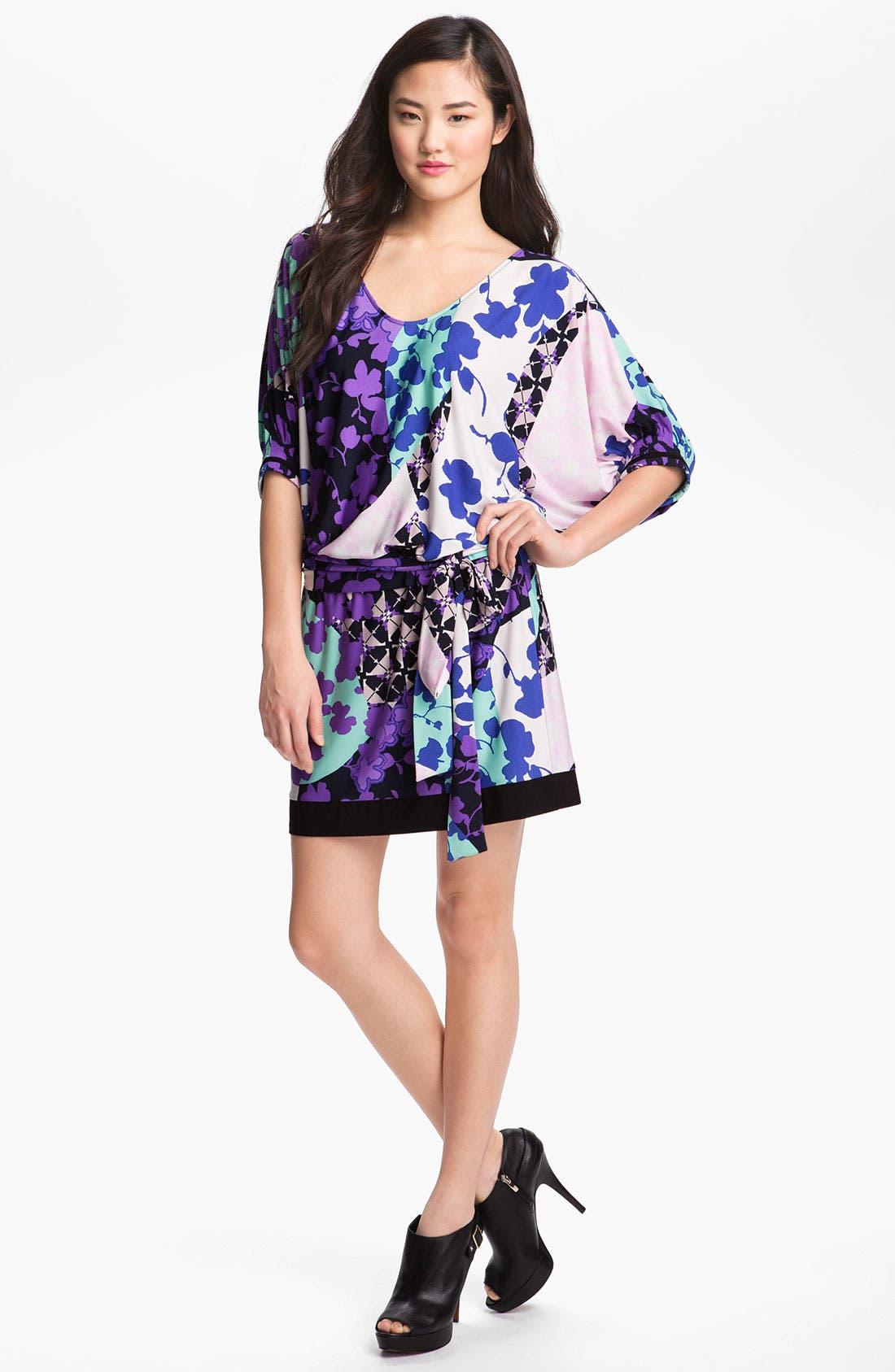 Main Image - Donna Morgan Print Matte Jersey Blouson Dress