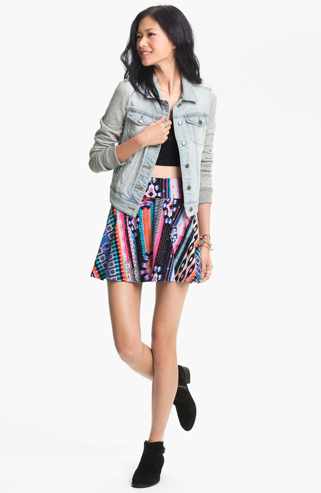 Alternate Image 2  - Rubbish® Jersey Sleeve Denim Jacket (Juniors)